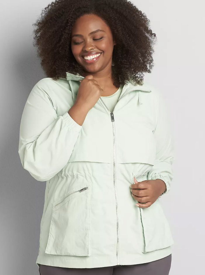 best-jackets-Lane Bryant Crinkle Cinched-Waist Jacket With Convertible Hood