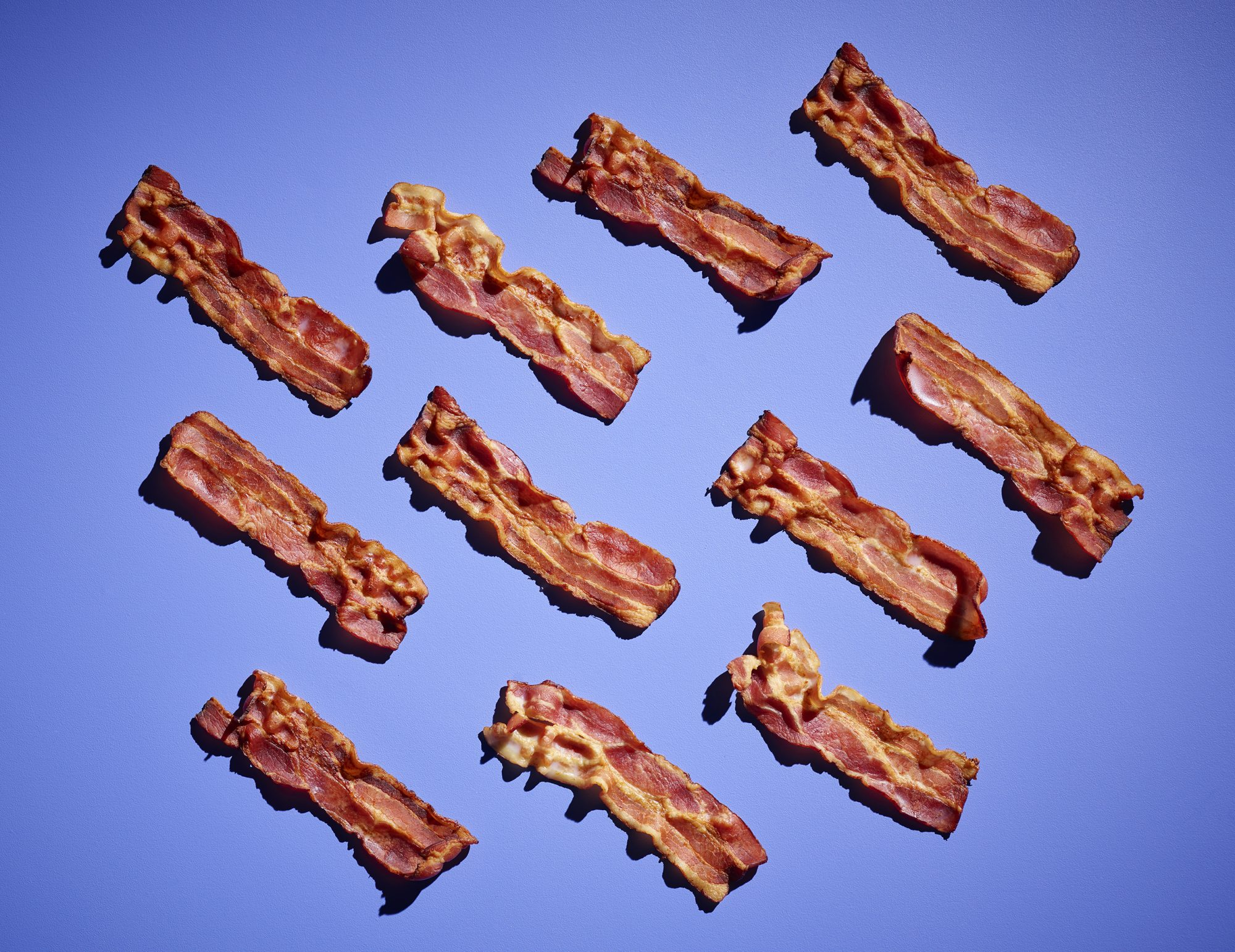 Bacon on a blue background