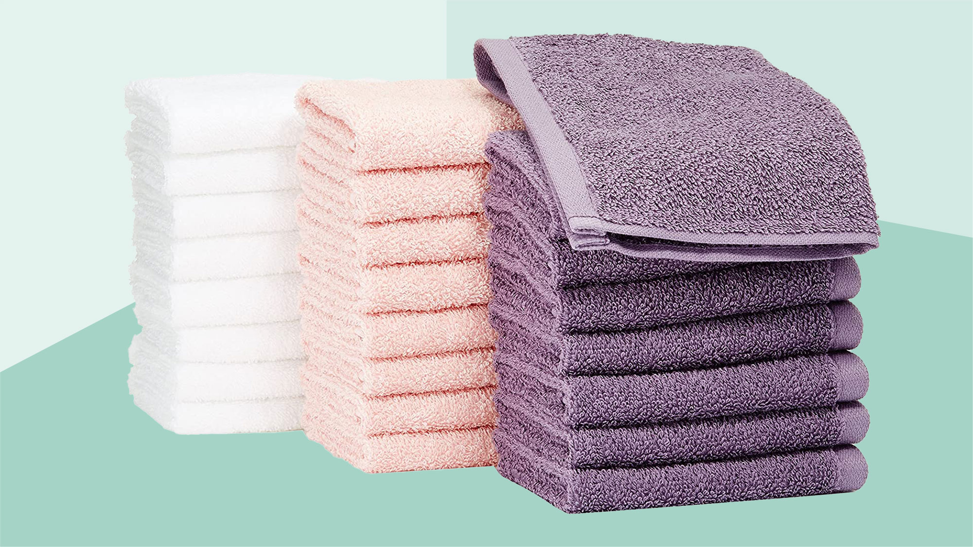 Amazon Basics Fast Drying, Extra Absorbent, Terry Cotton Washcloths