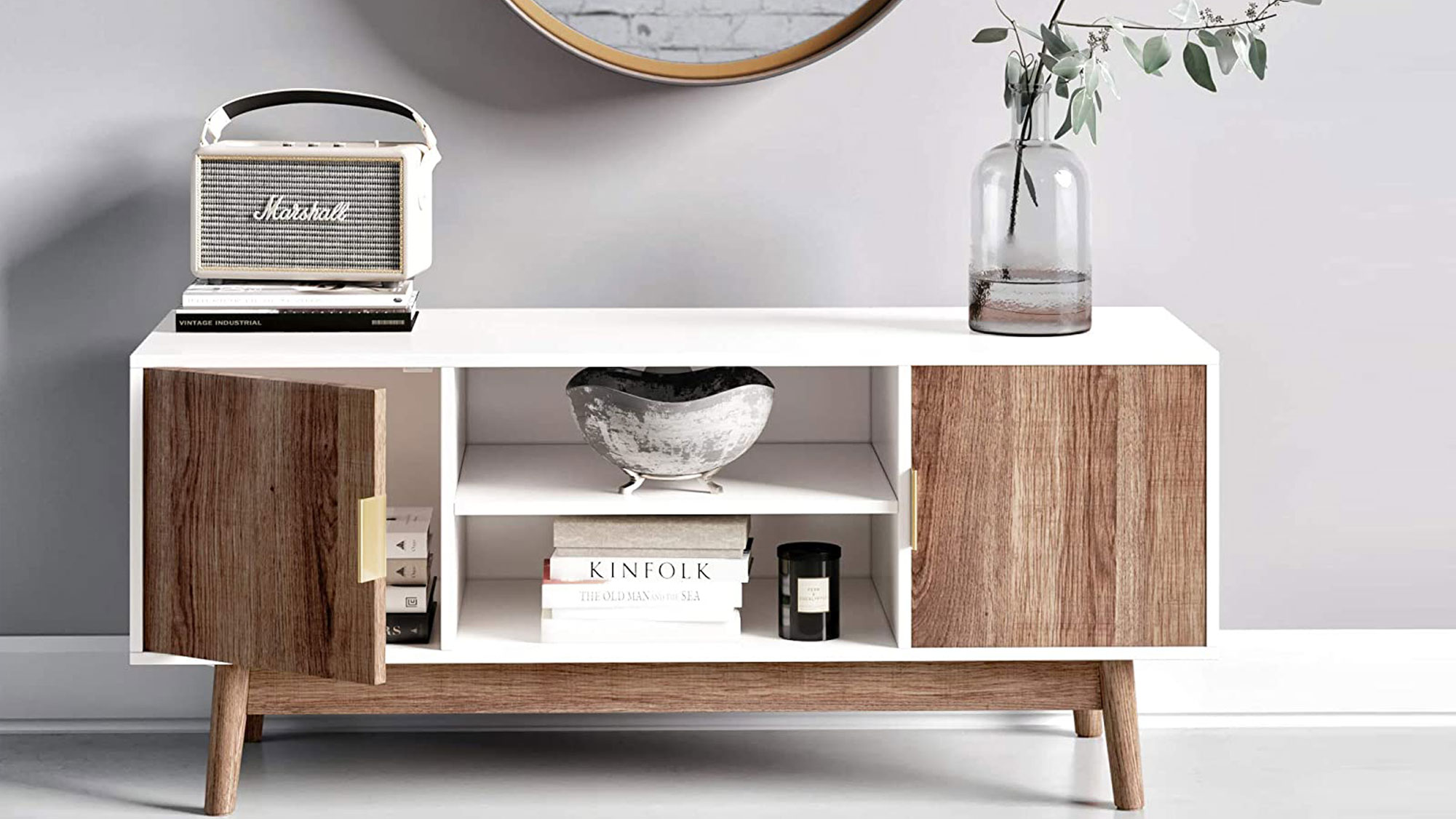 Nathan James Wesley Scandinavian TV Stand Media Console with Wooden Frame and Cabinet Doors