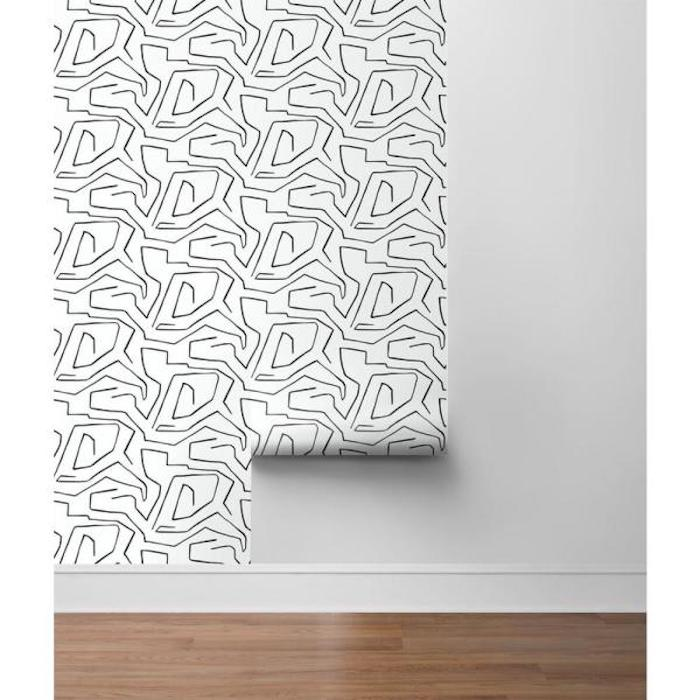 Home Depot Peel-and-Stick Wallpaper in black and white pattern