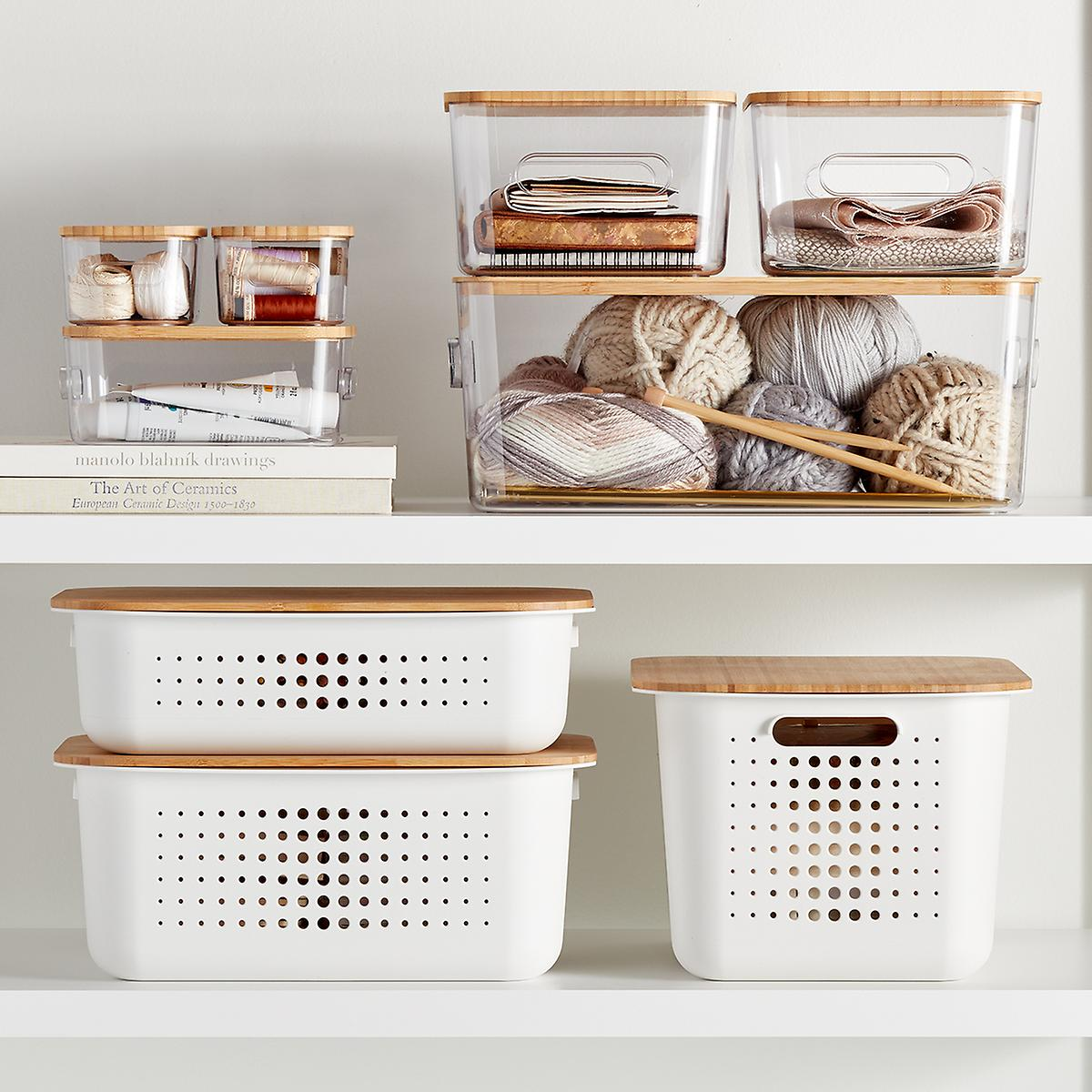 Wood Storage Bin Lids from Container Store