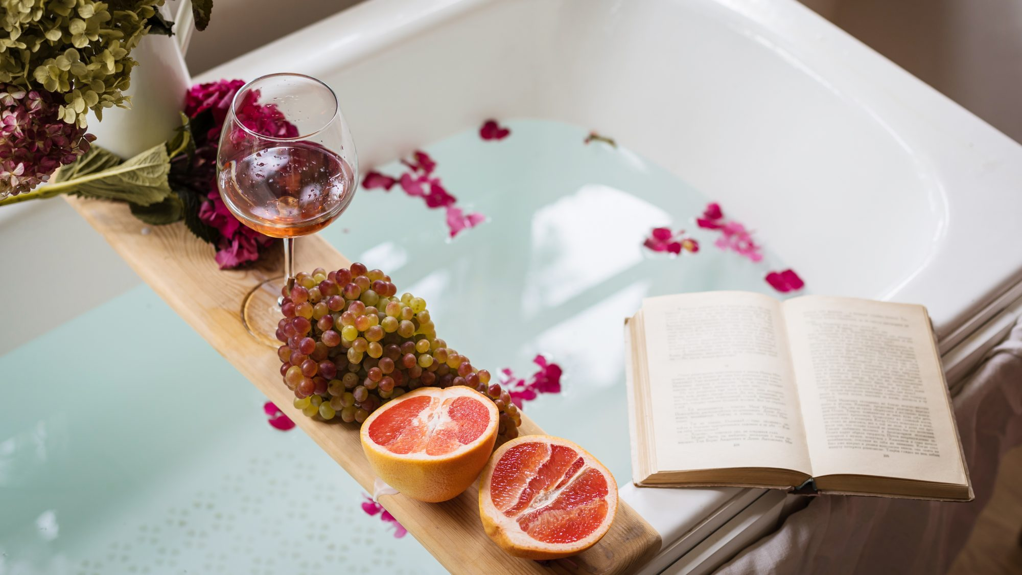 self-care-tips-budget: book, wine, bath