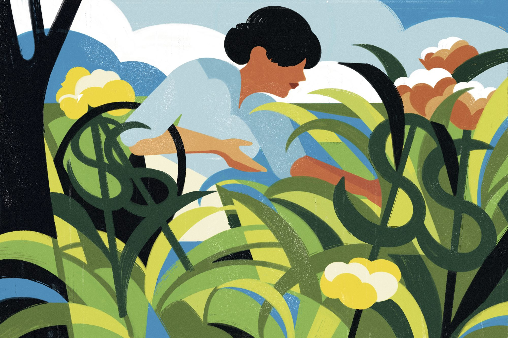 Illustration of woman tending to garden