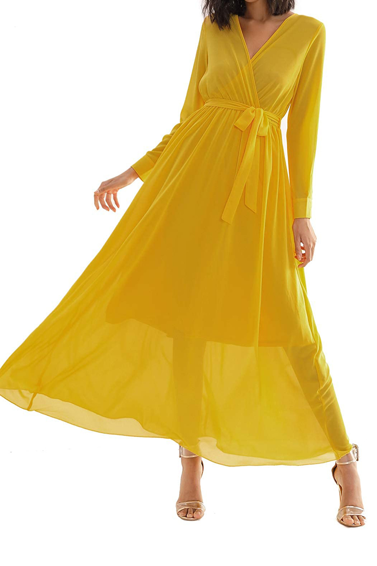 Kate Middleton-Inspired Spring Wrap Dress: Double Chic Chiffon Maxi Dress with Pockets