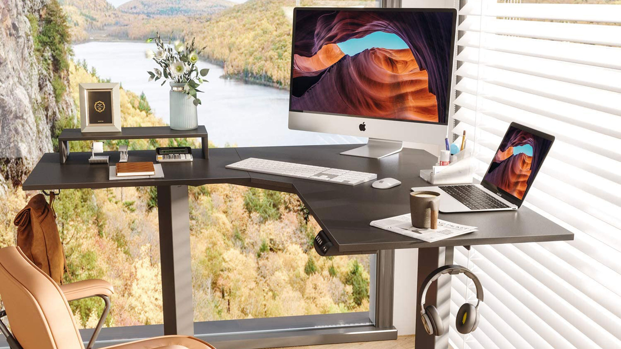 FEZIBO L-Shaped Electric Standing Desk