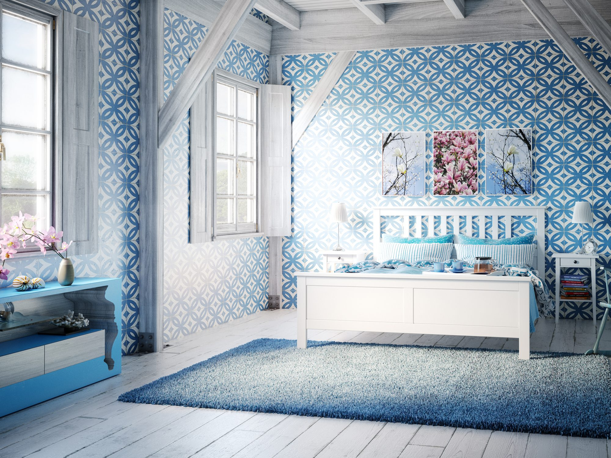 Colorful Decorating Ideas for Small Spaces: blue bedroom