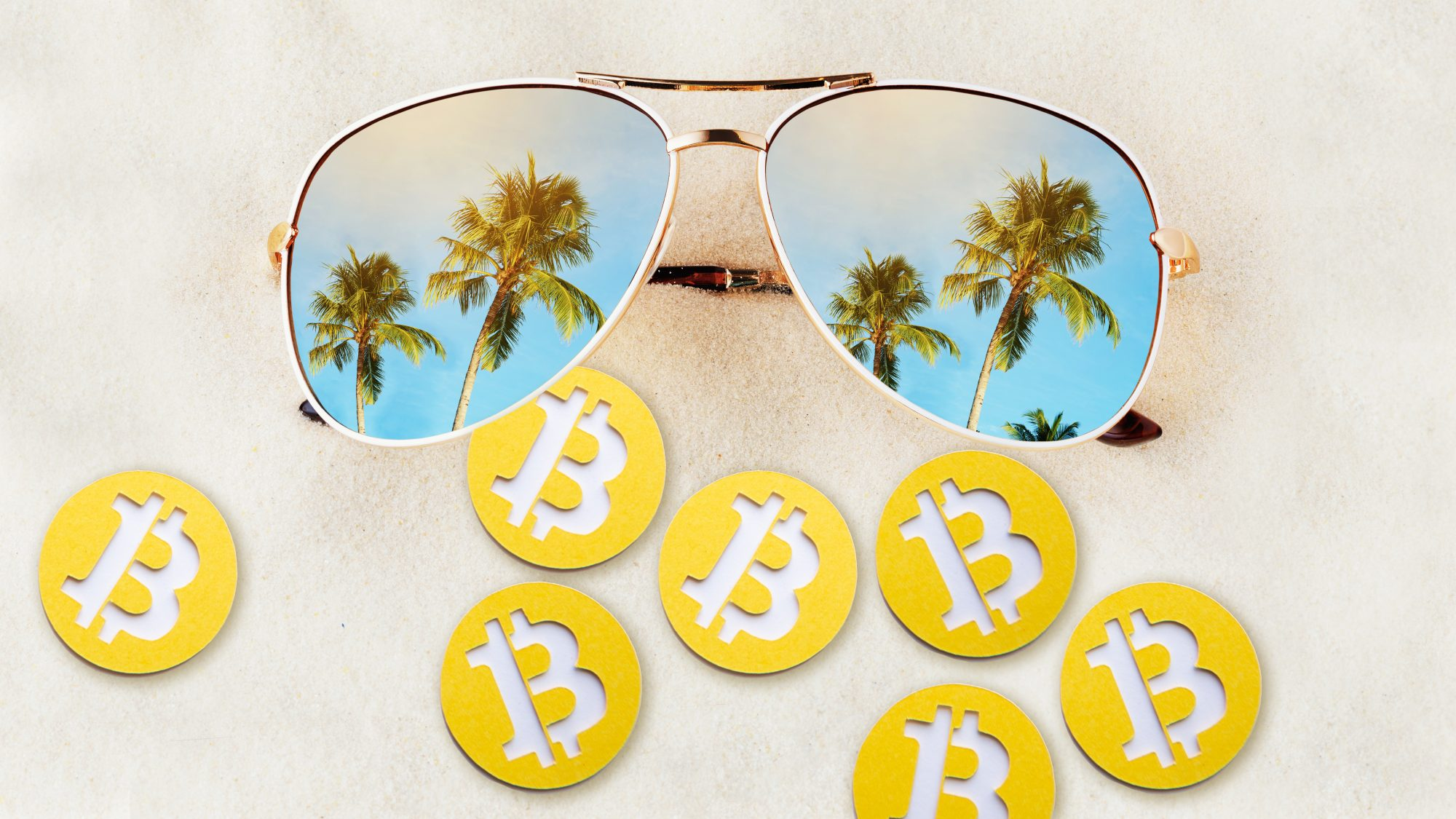 cryptocurrency-travel: sunglasses and Bitcoin