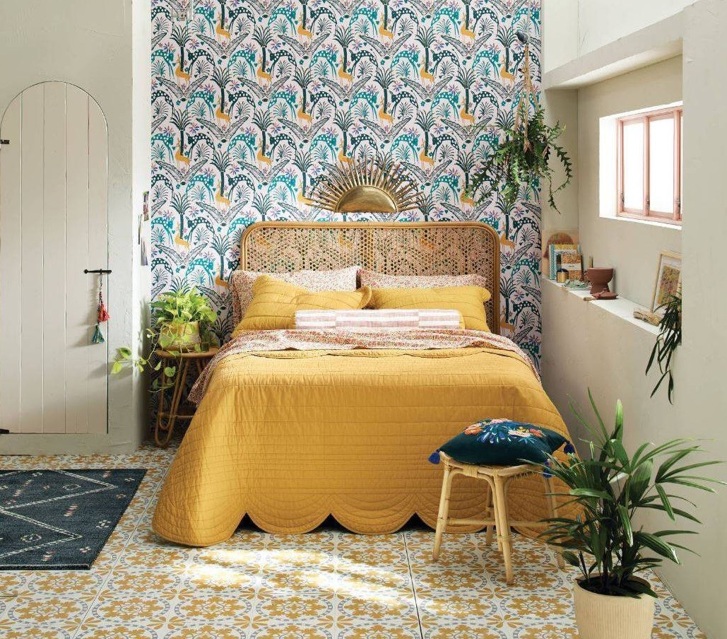 Target Jungalow Bed with Yellow Quilt