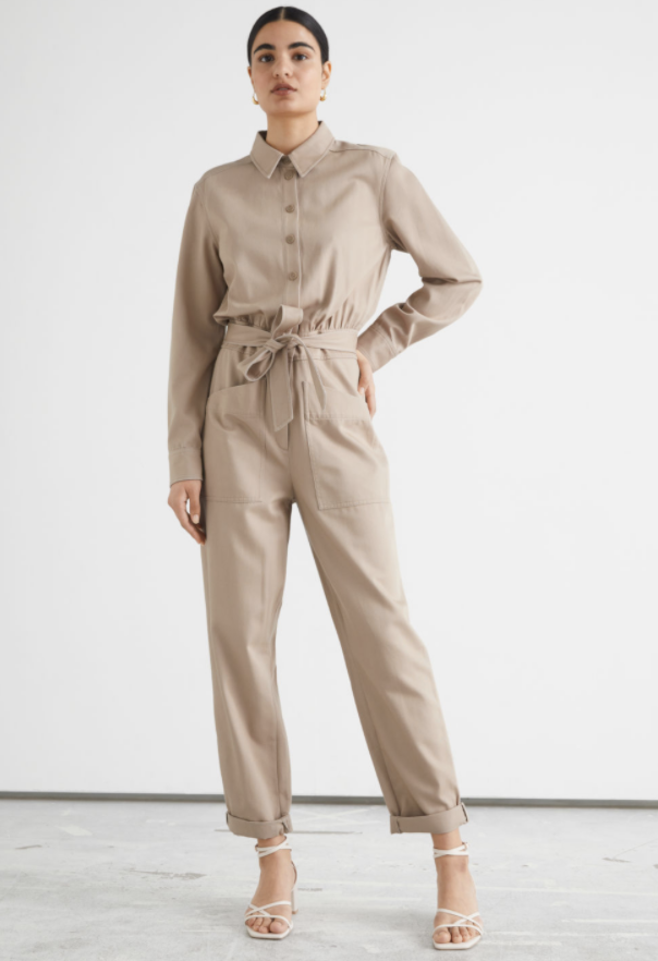 best-jumpsuits-& Other Stories Belted Buttoned Patch Pocket Jumpsuit