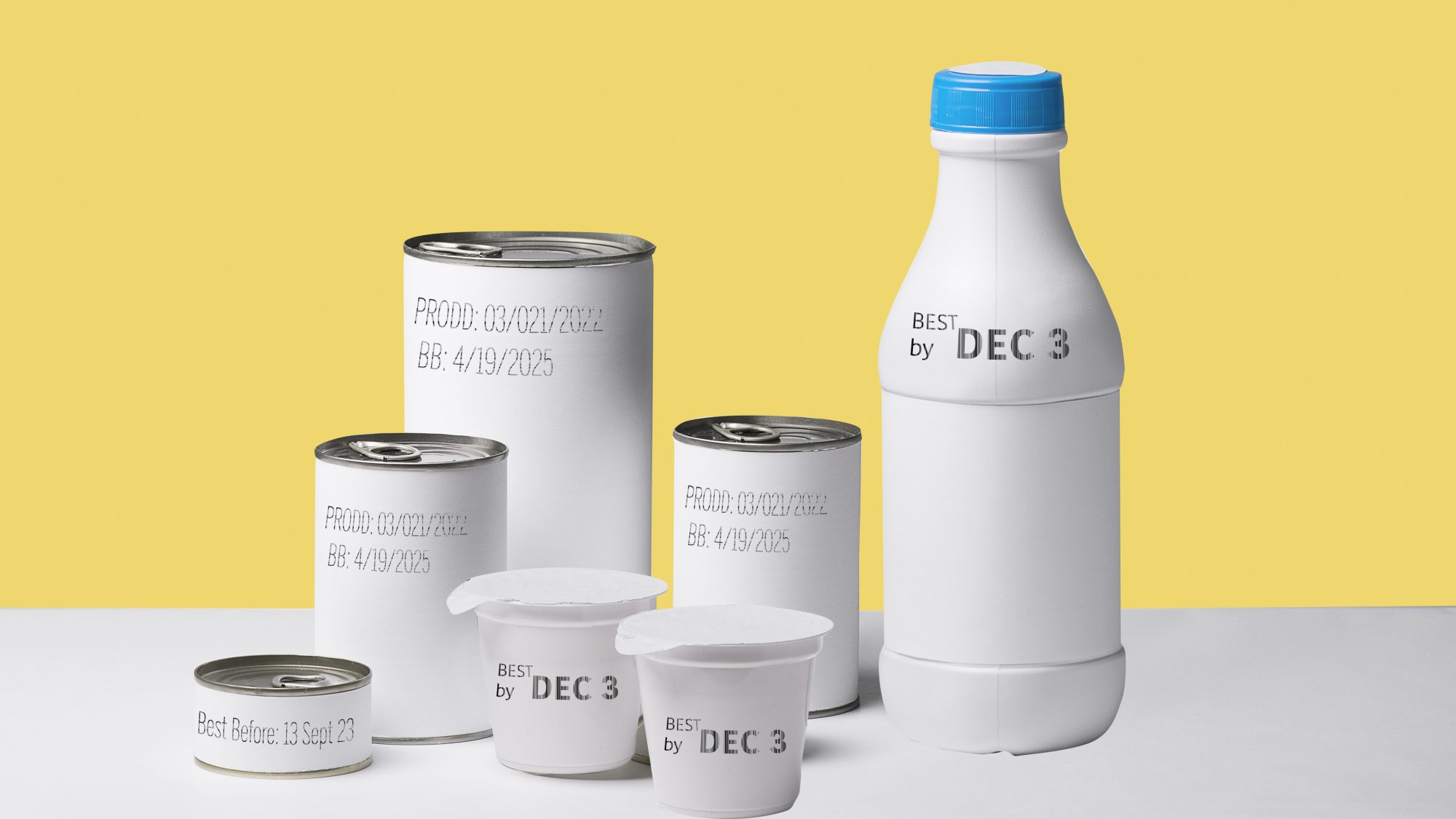 food-expiration-date-guidelines: cans and bottles with expiration dates visible