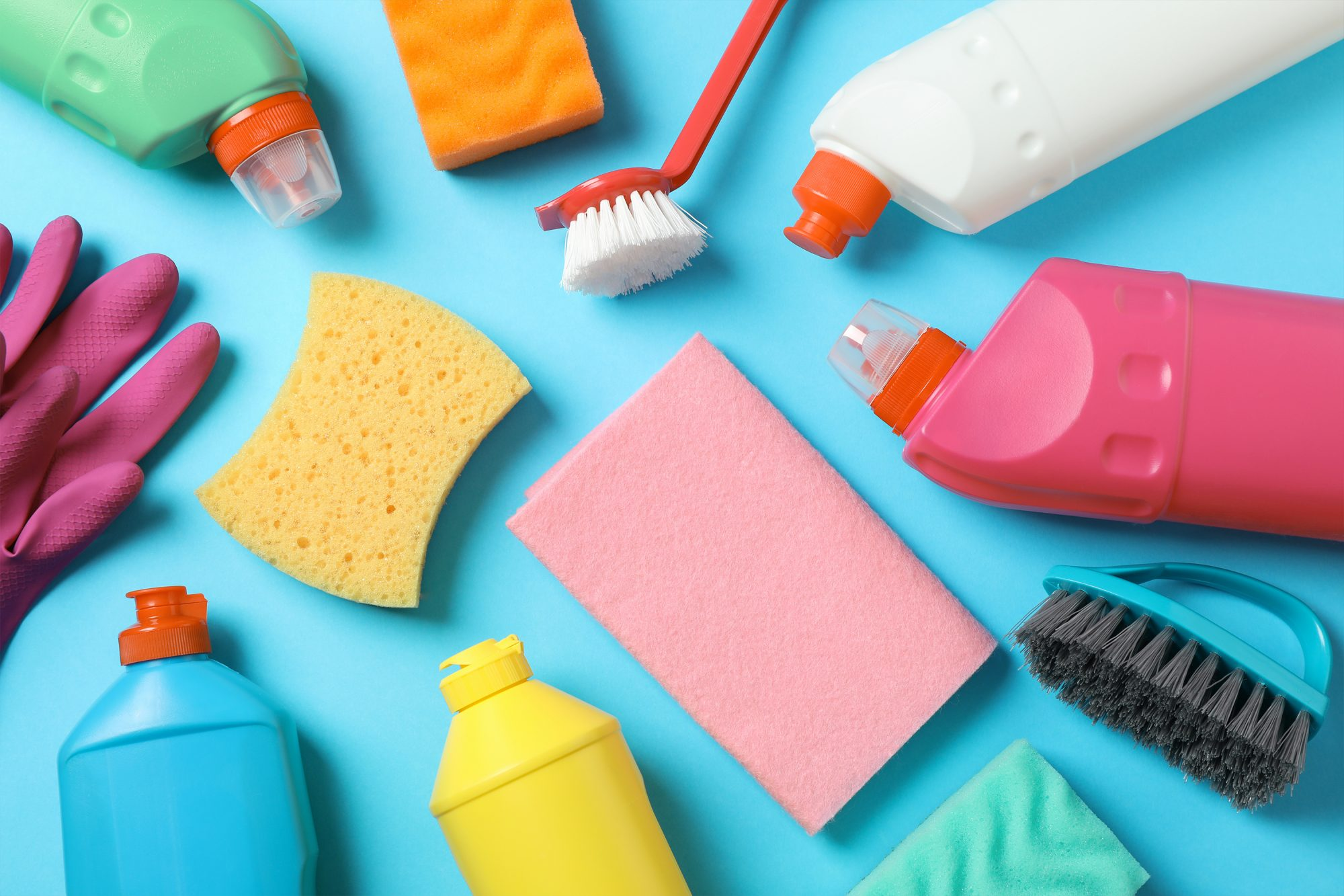 Clean supplies, sponges and brushes