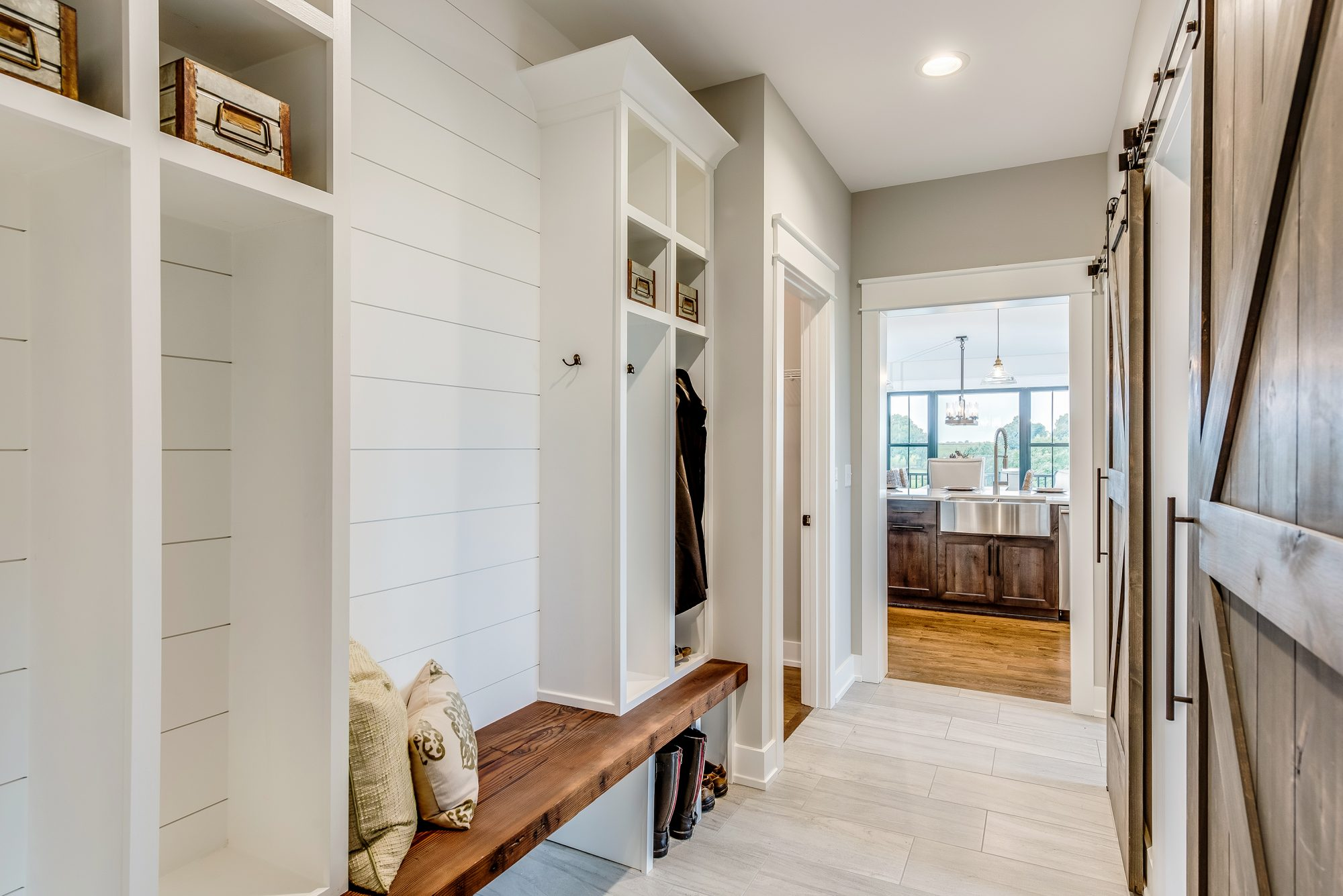 Entryway with Storage Cubbies and Sink