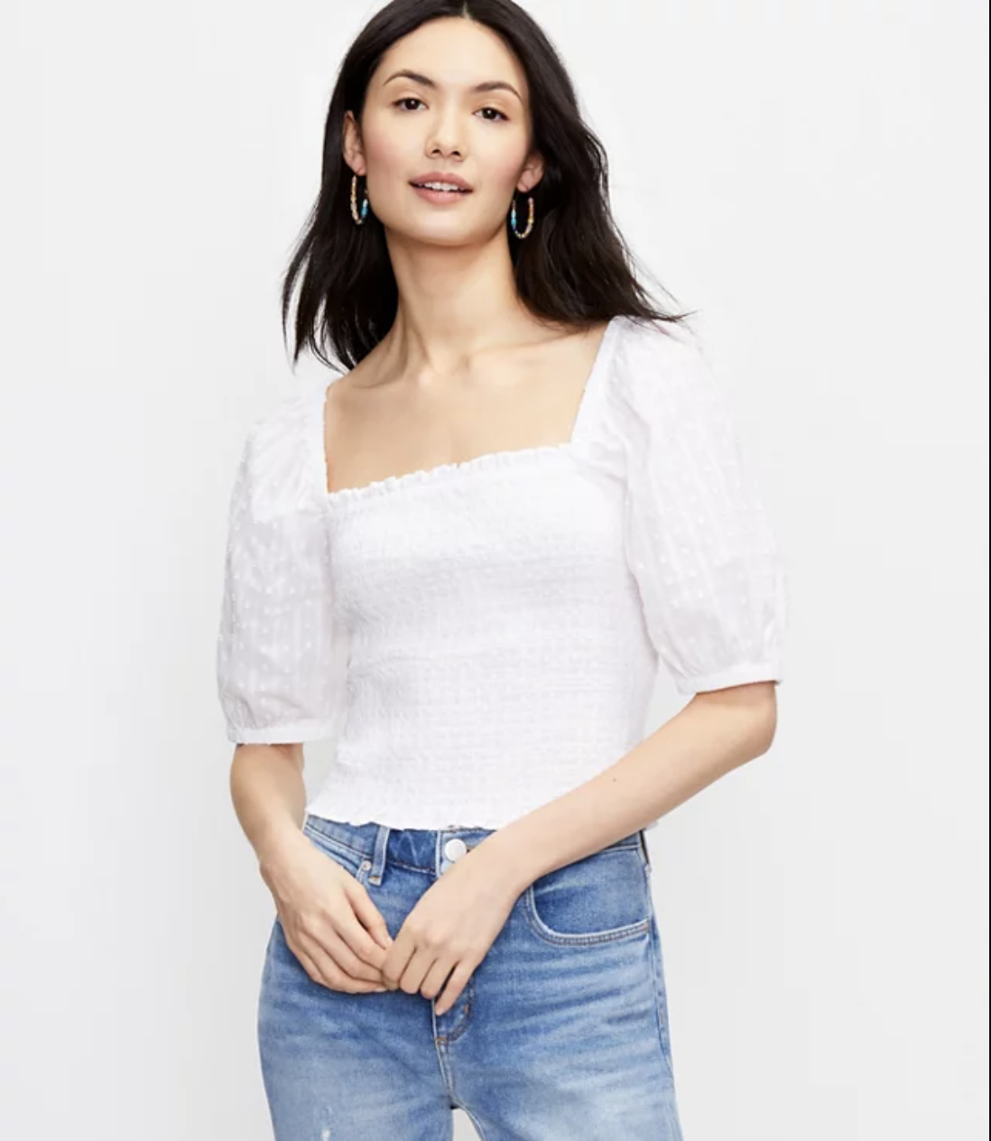 what-to-wear-with-mom-jeans-loft-Clip Smocked Blouse