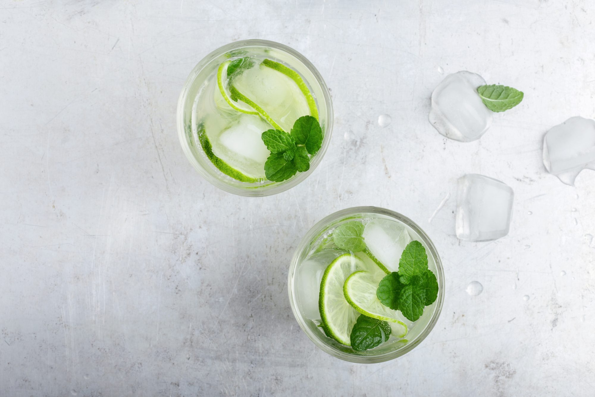 Ice water with lime and mint
