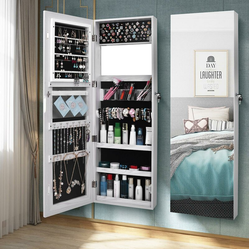 Wall Mounted Jewelry Armoire with Mirror