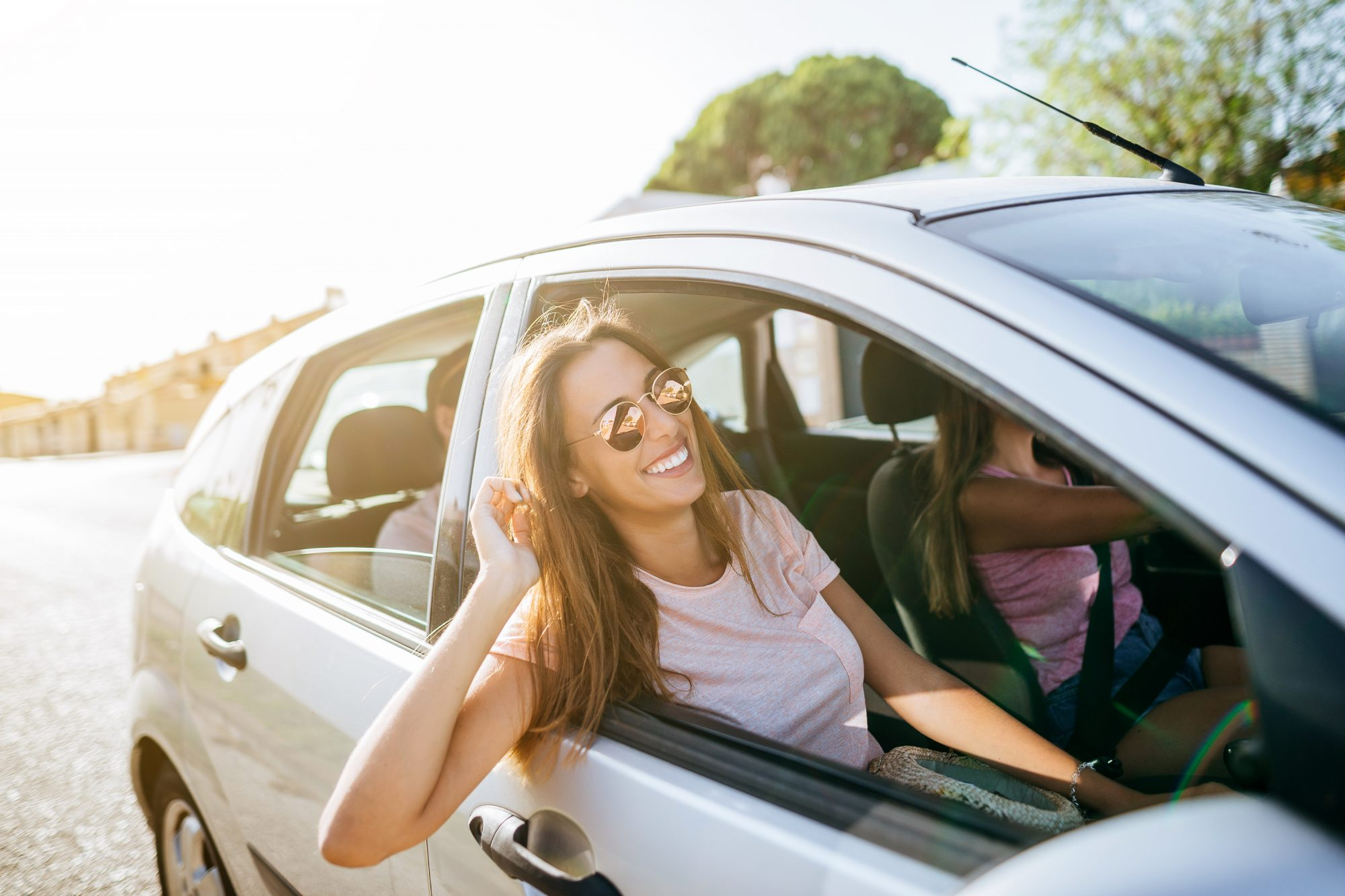 Road Trip in an Electric Car: people taking a road trip