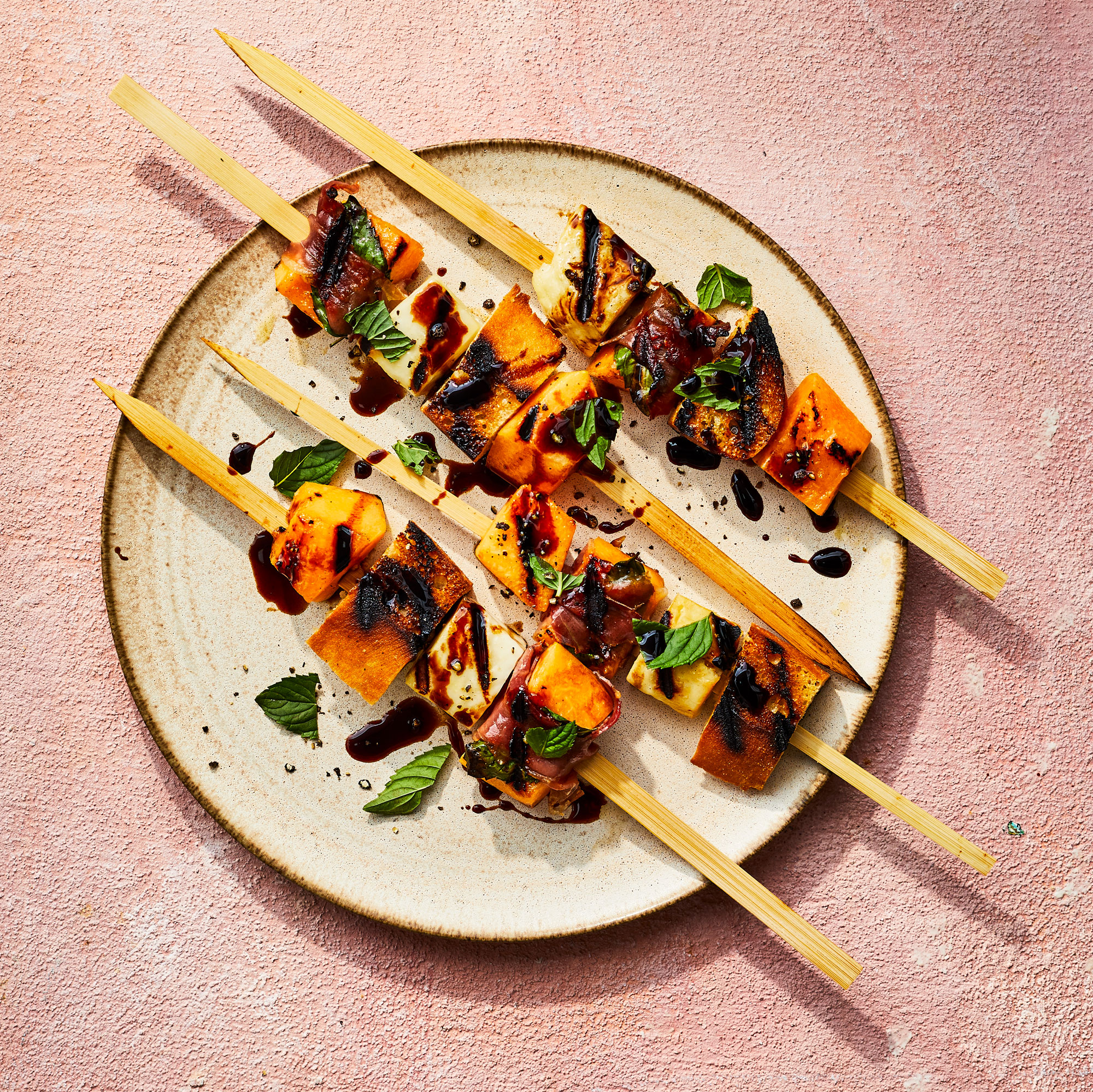 Grilled Cantaloupe and Prosciutto Skewers