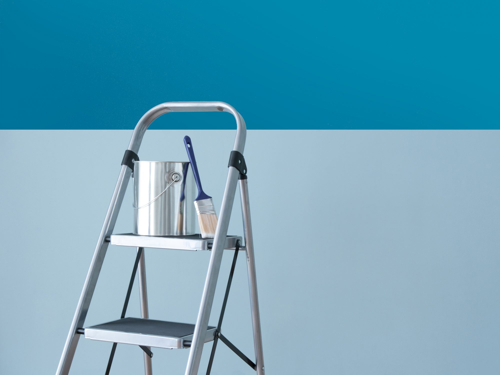 How to Paint a Ceiling, step ladder and paint can