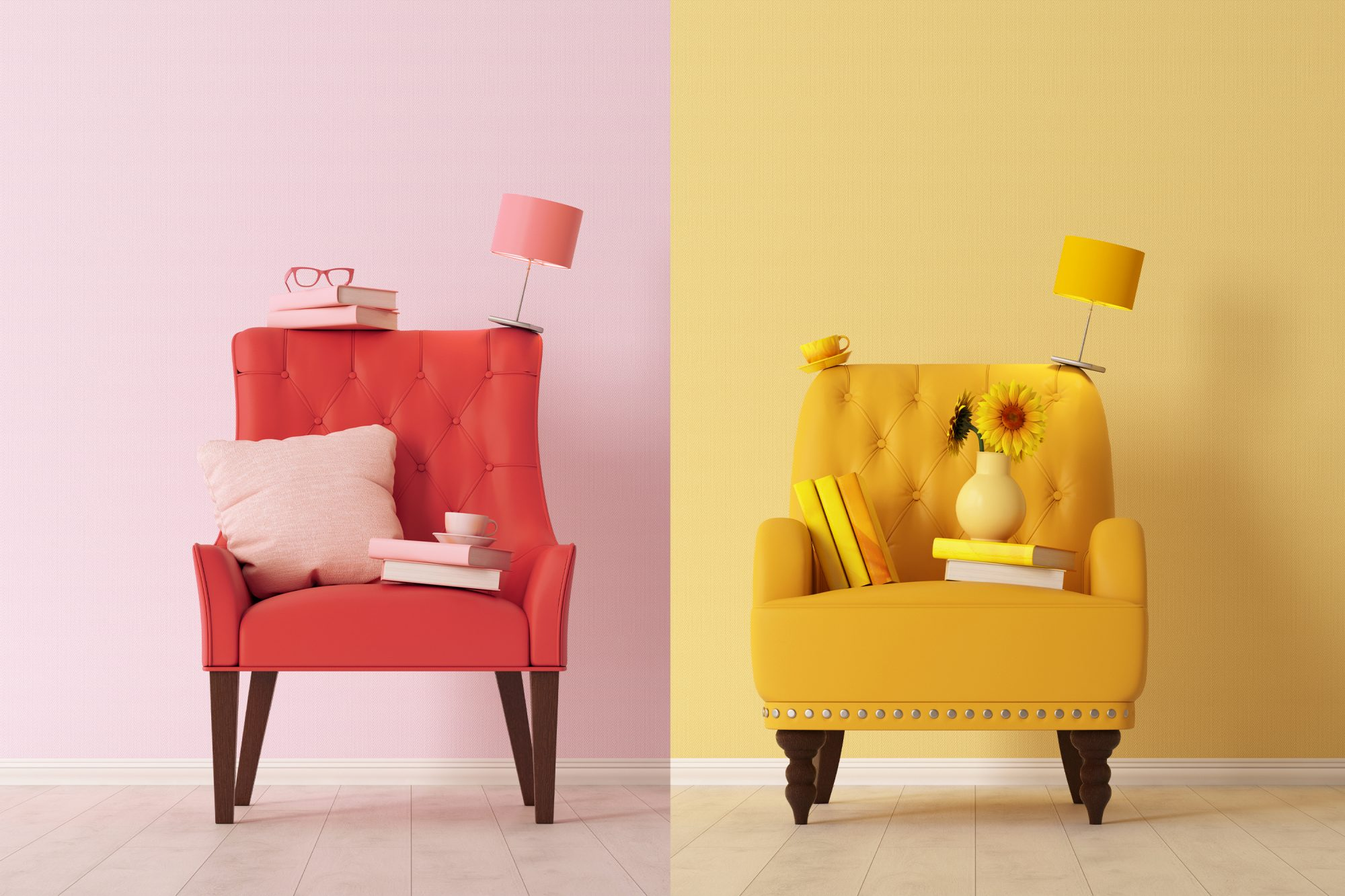 What Is Color Therapy and How Does It Work: red chair, yellow chair