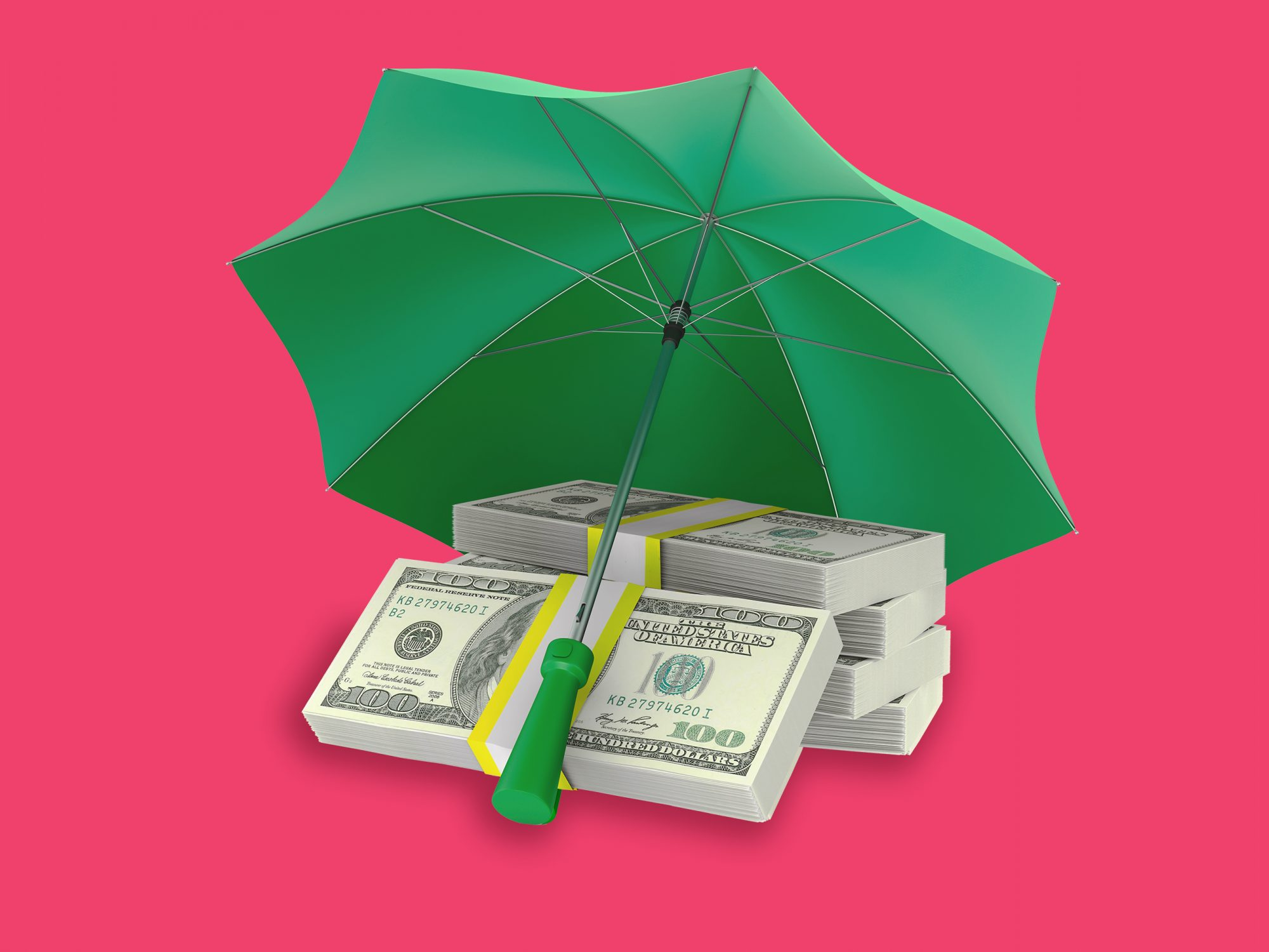 green umbrella covering money with a pink background