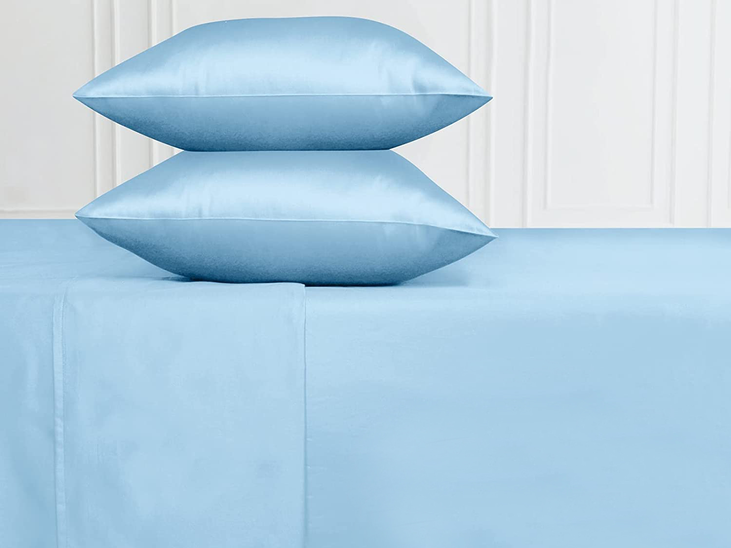 blue sheets and pillows