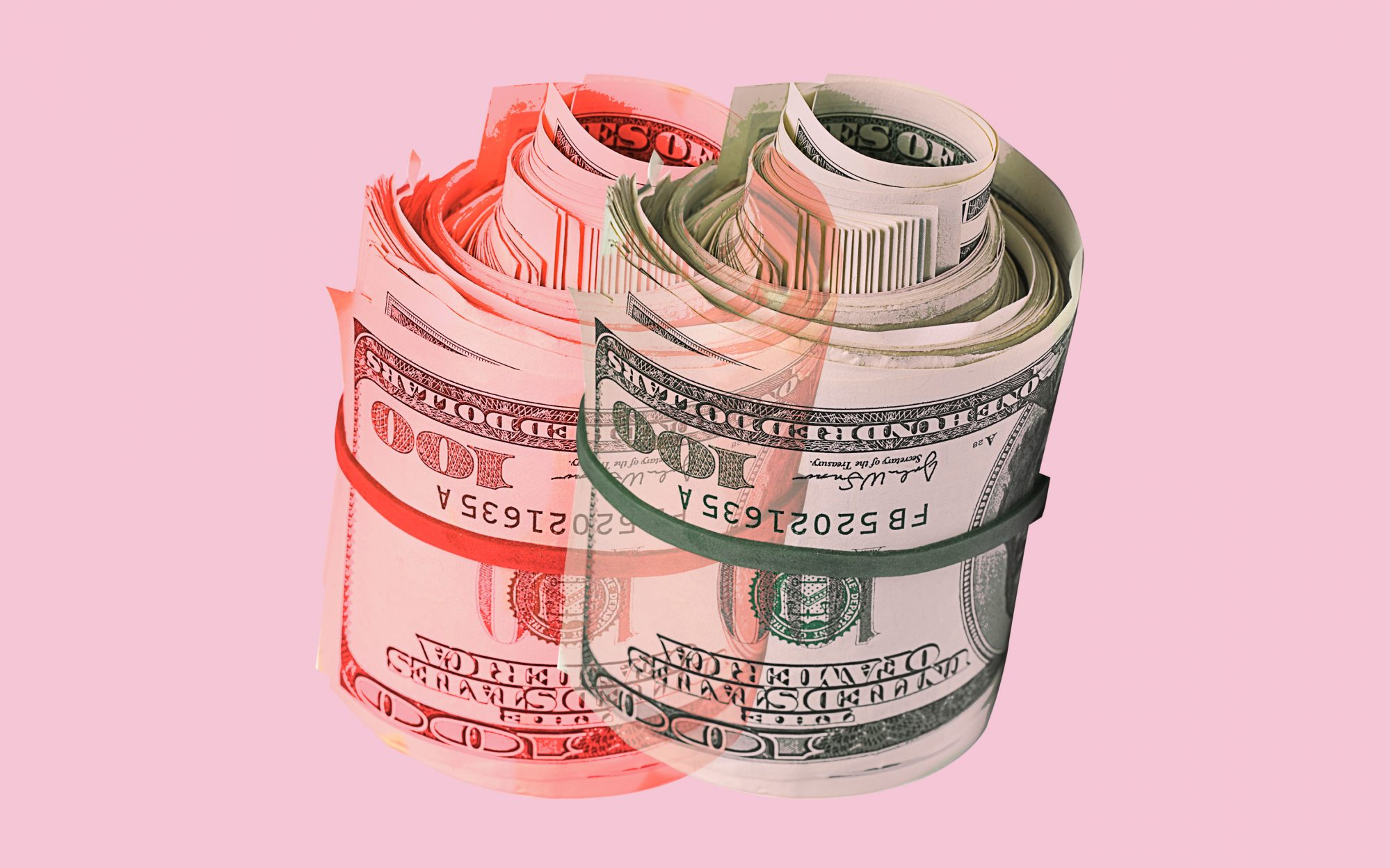 roll of 100 dollar bills with a red shadow on a pink background