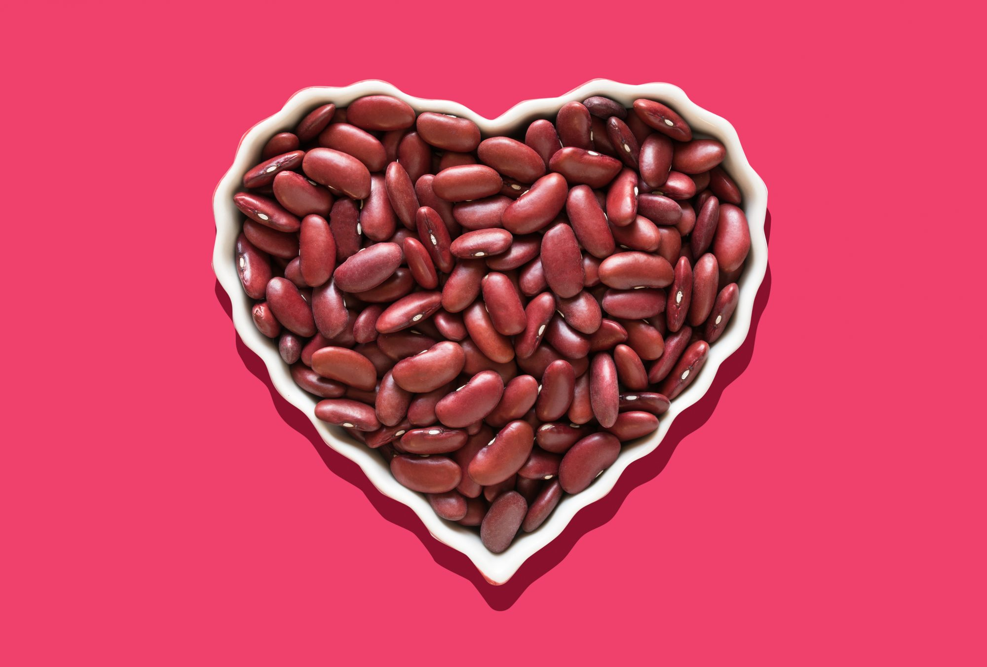 Kidney Beans Benefits: kidney beans in a heart shaped dish