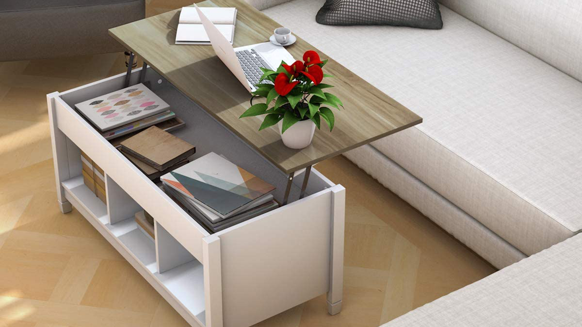 Tangkula Wood Lift Top Coffee Table, Modern Coffee Table w/Hidden Compartment