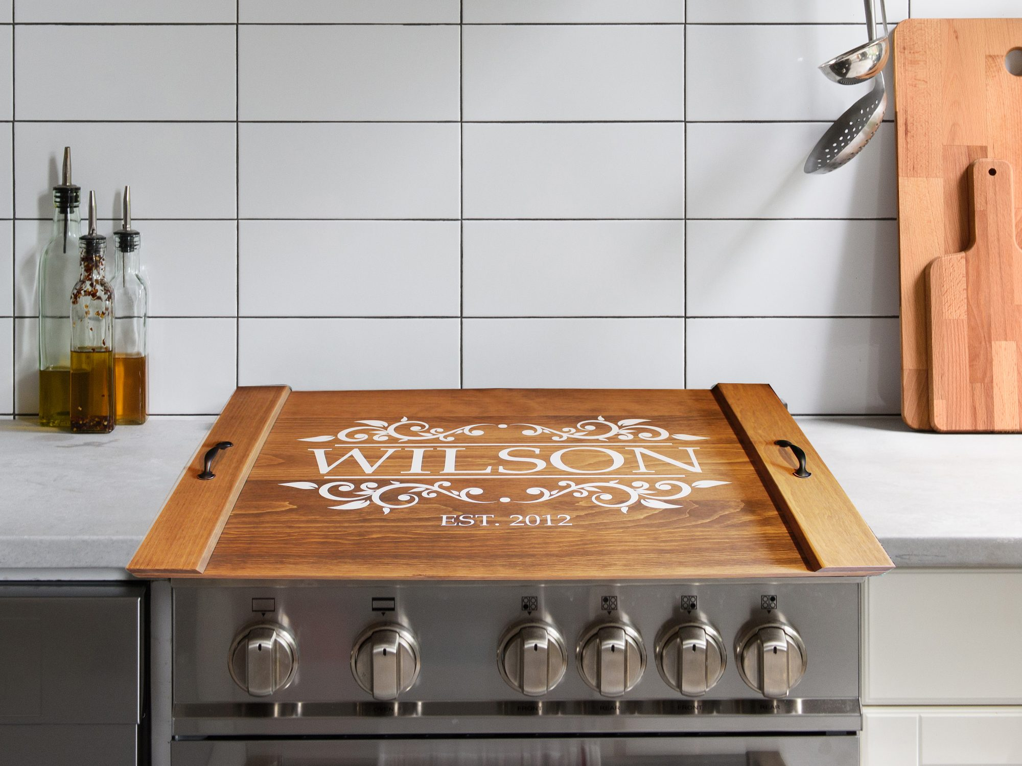 personalized wood stove top cover