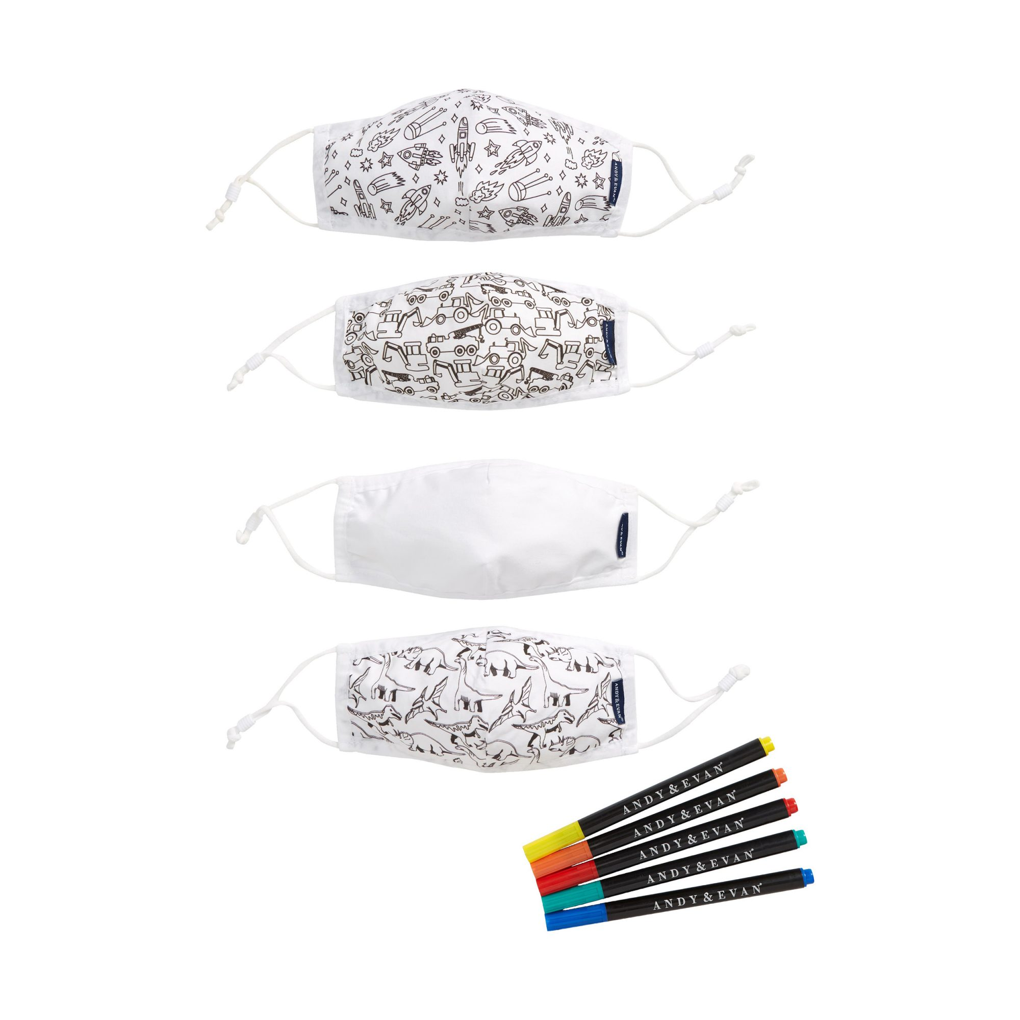 Andy & Evan 4-Pack Youth Coloring Face Masks & 5-Pack Fabric Markers Set