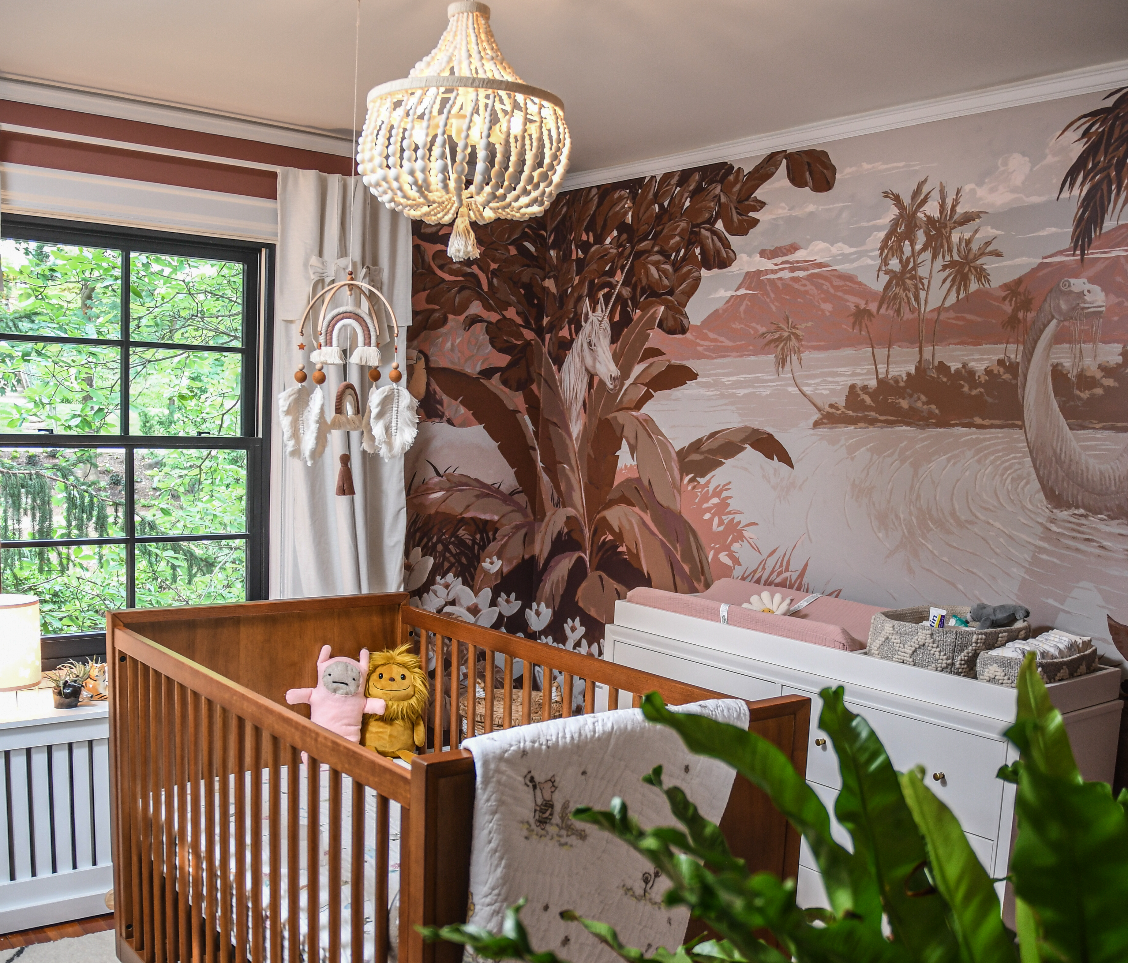 Hilton Carter Baby Nursery Tout, with mural and crib