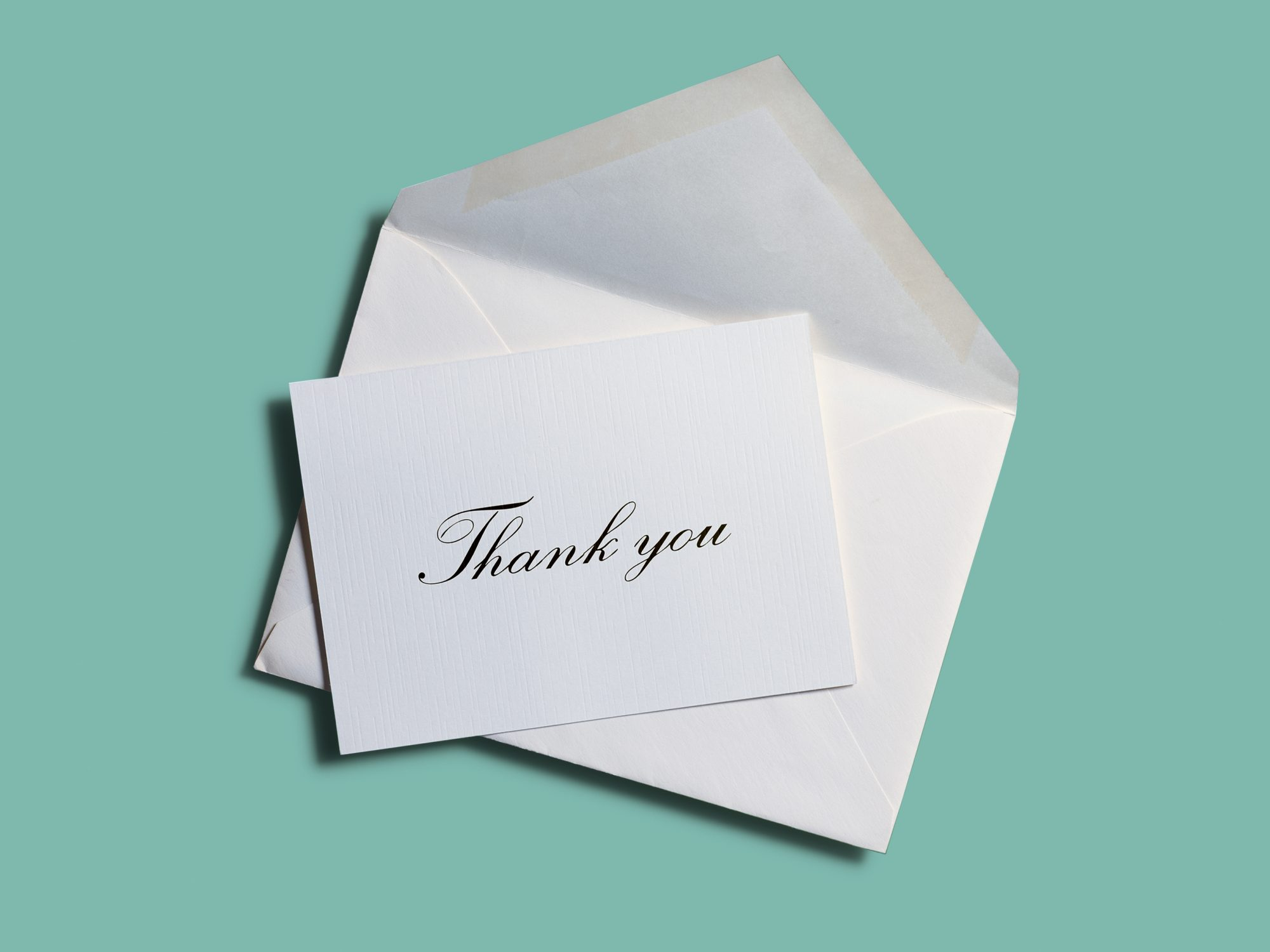 thank-you note on a teal background
