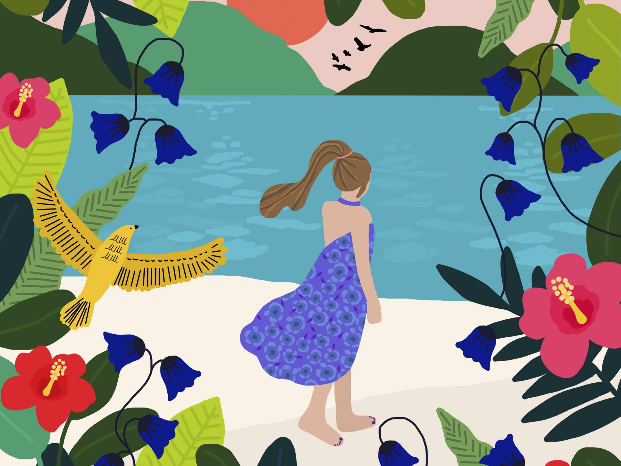 colorful illustration of a woman on a beach with birds and flowers