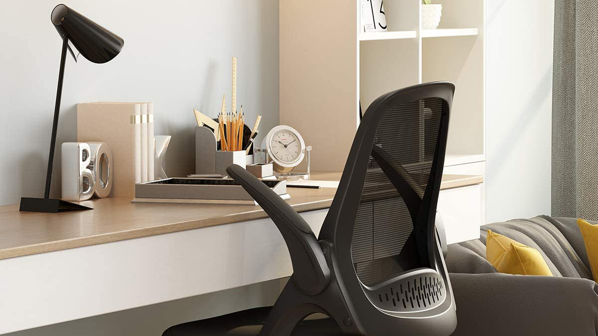 Hbada Office Task Desk Chair Swivel Home Comfort Chairs with Flip-up Arms