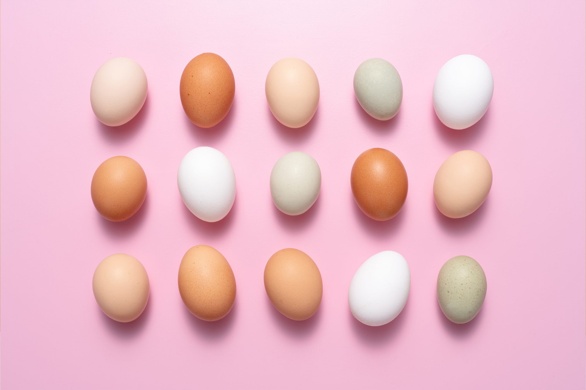 assortment of brown and white eggs