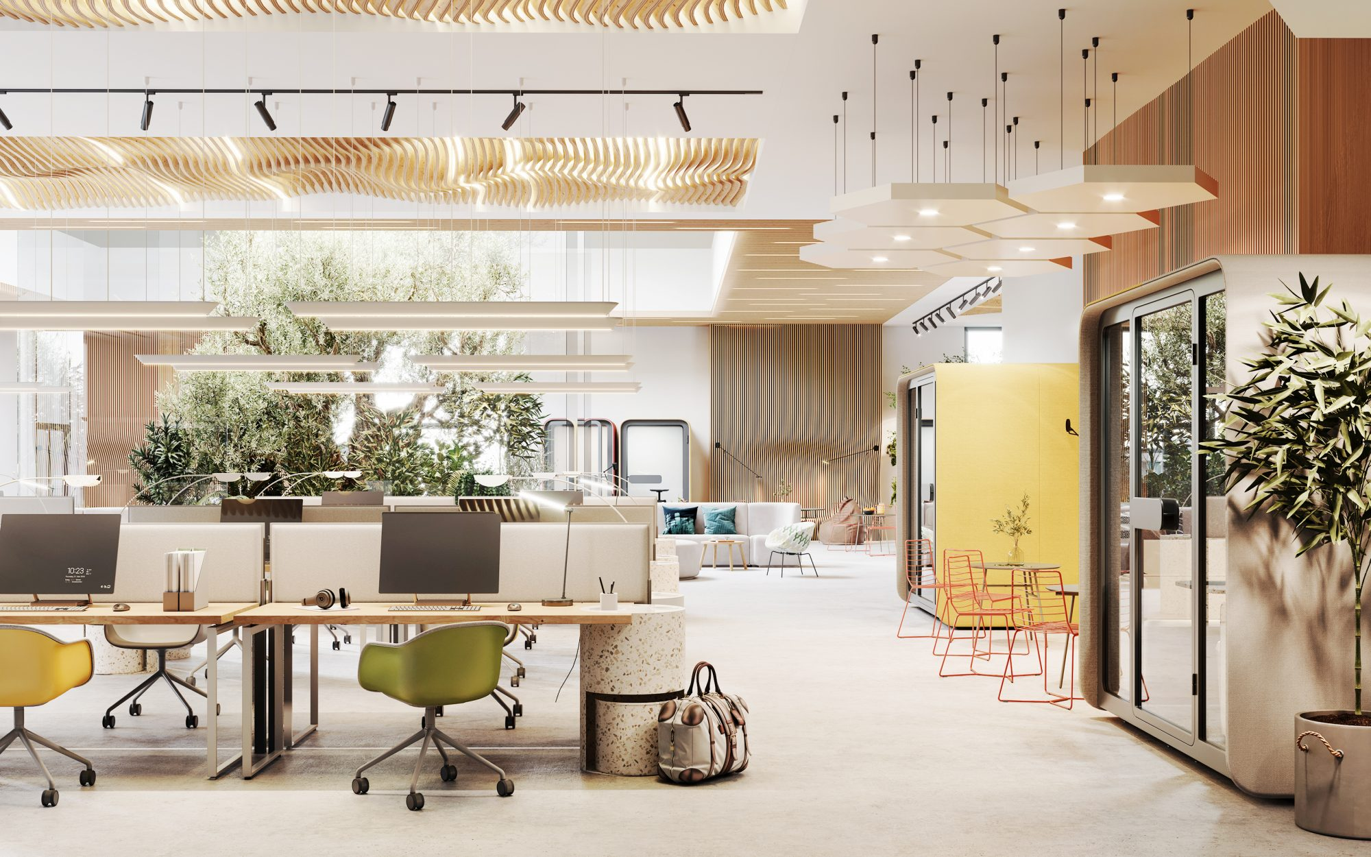 an environmentally friendly coworking office space