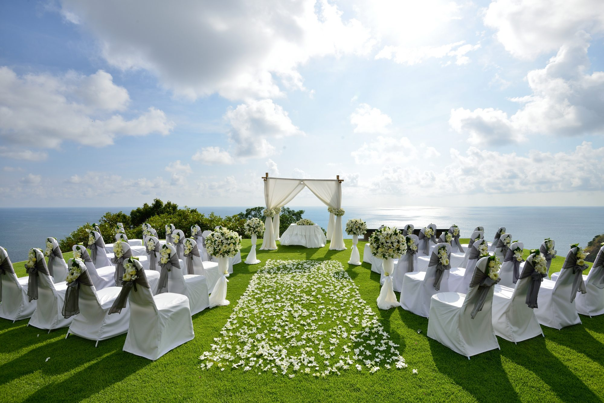 Wedding on a hill overlooking the ocean