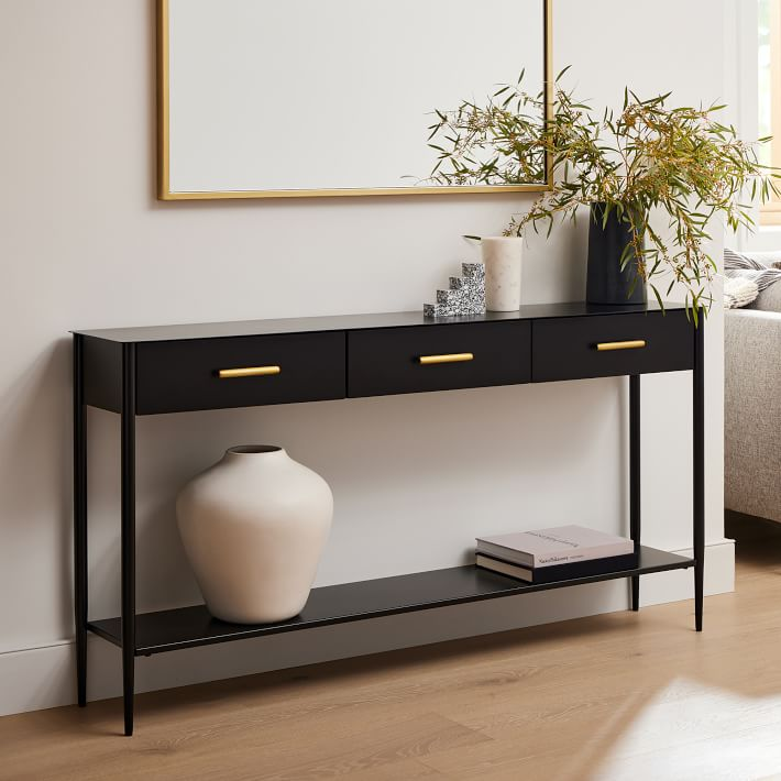 Black Metalwork Console Table with Drawers
