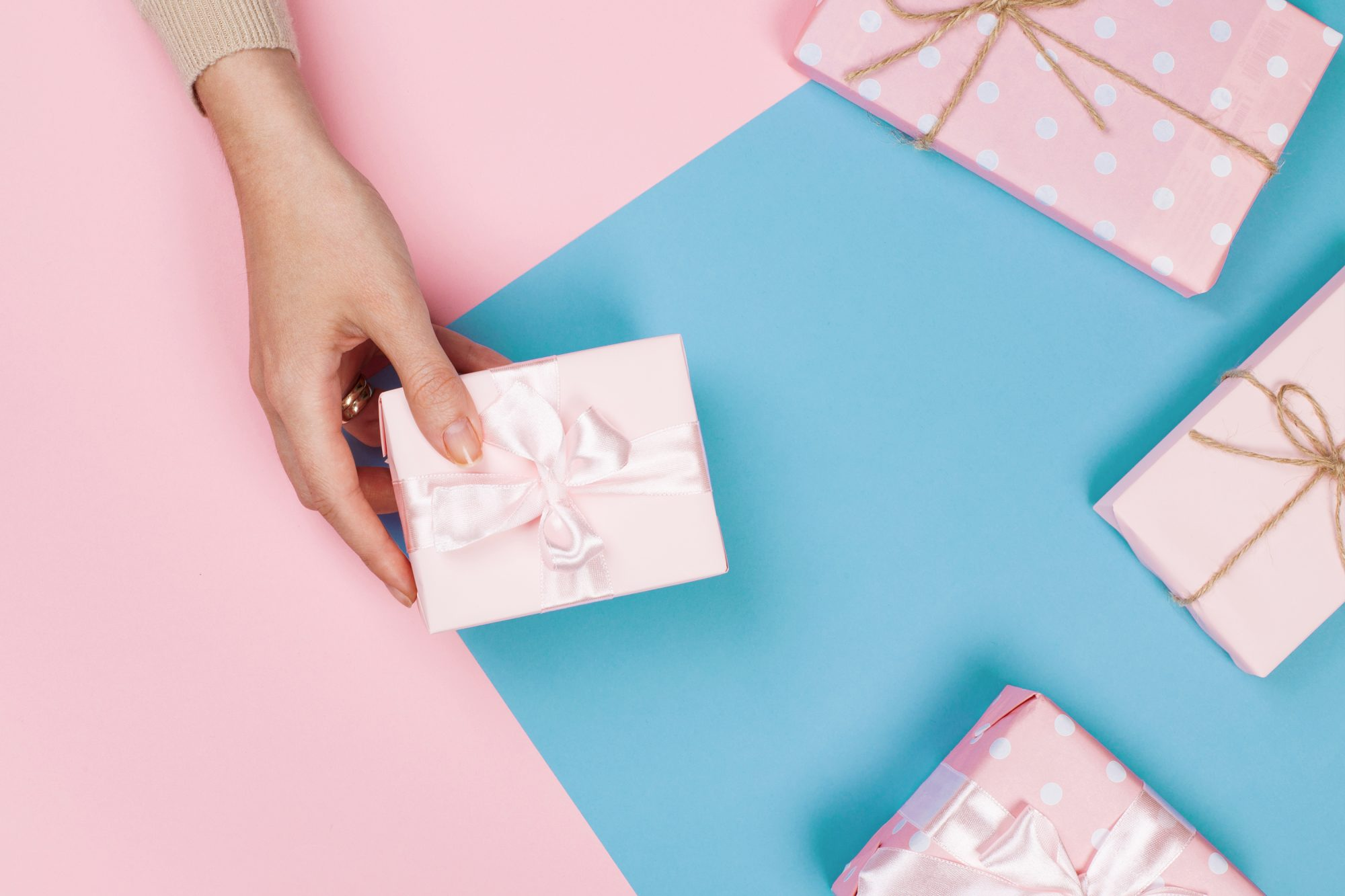 pink-wrapped gifts for women