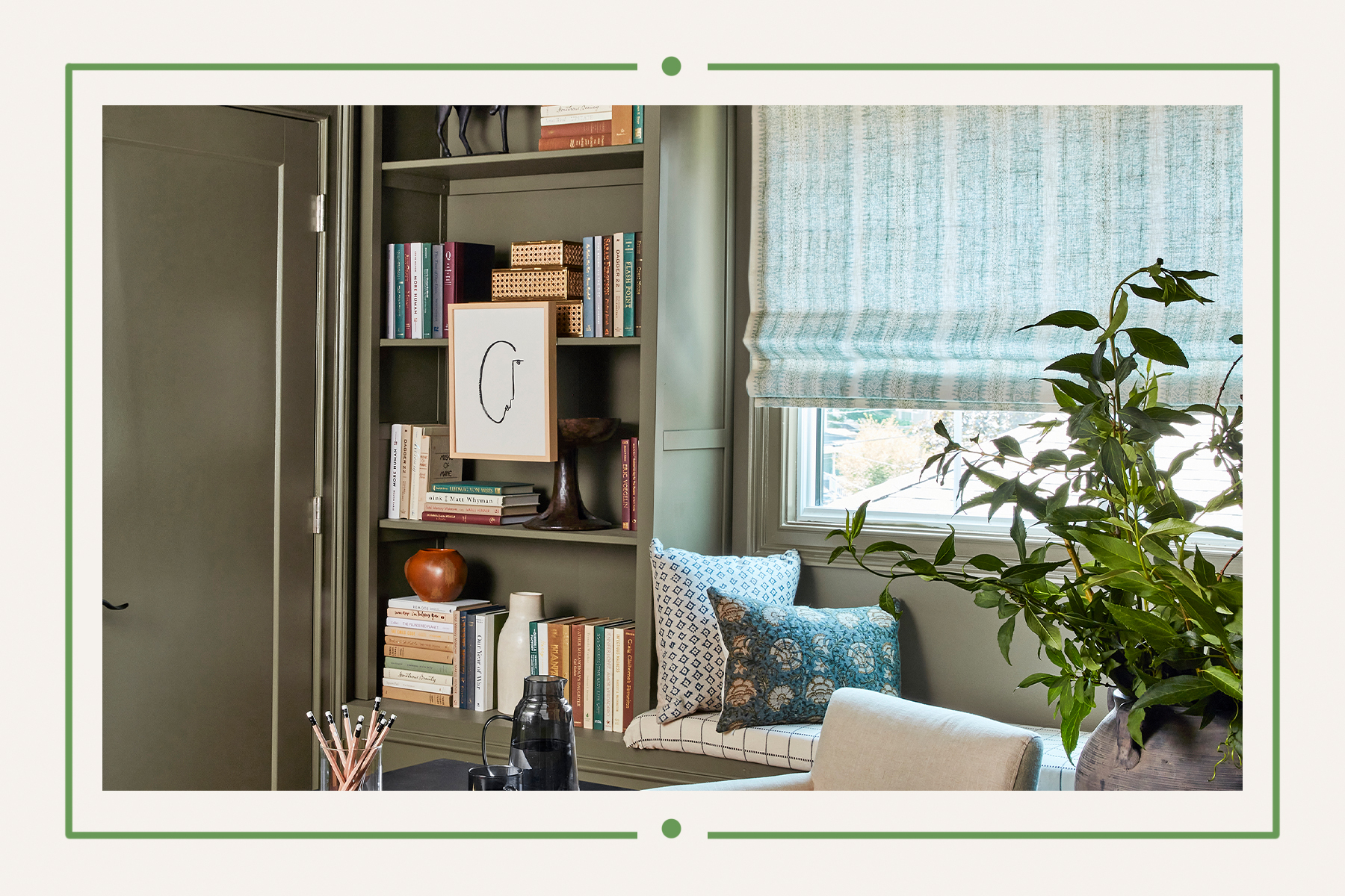 Green office space with bookshelves