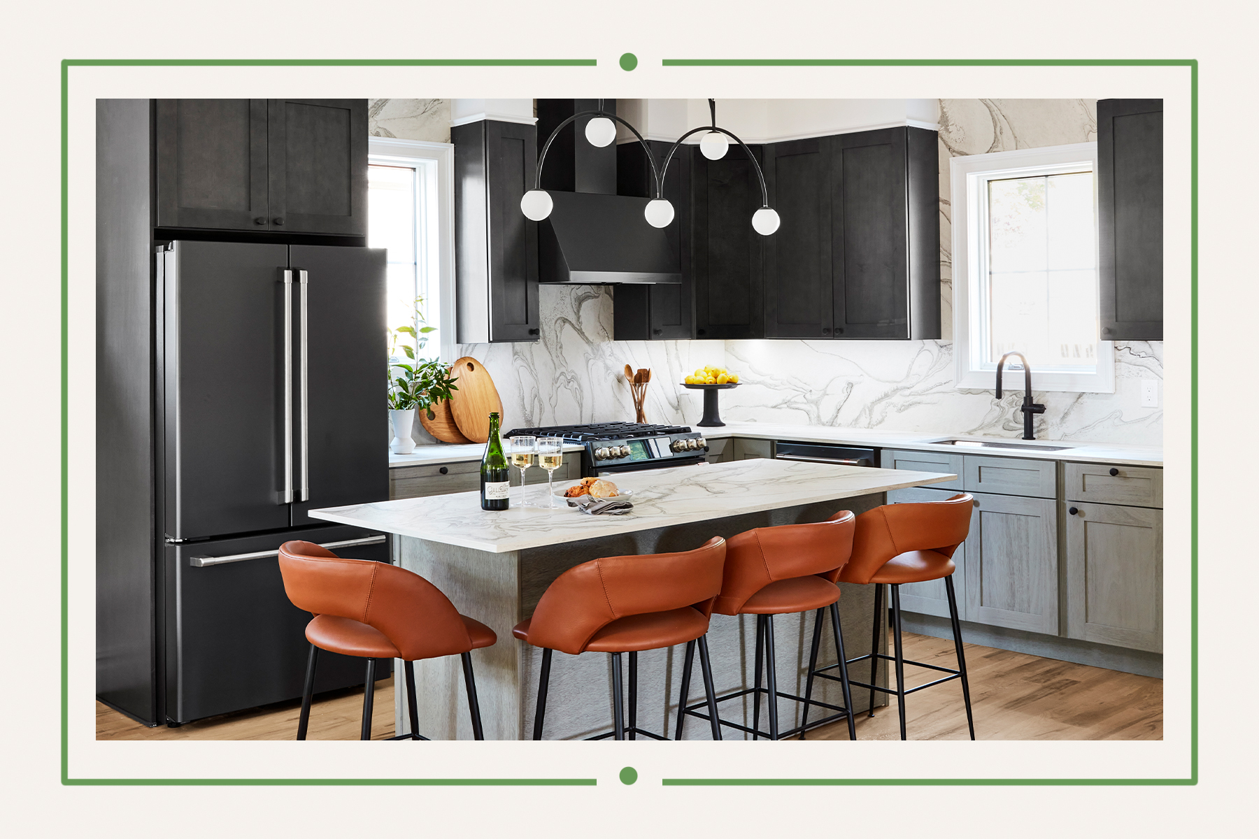 Kitchen with island and leather bar stools