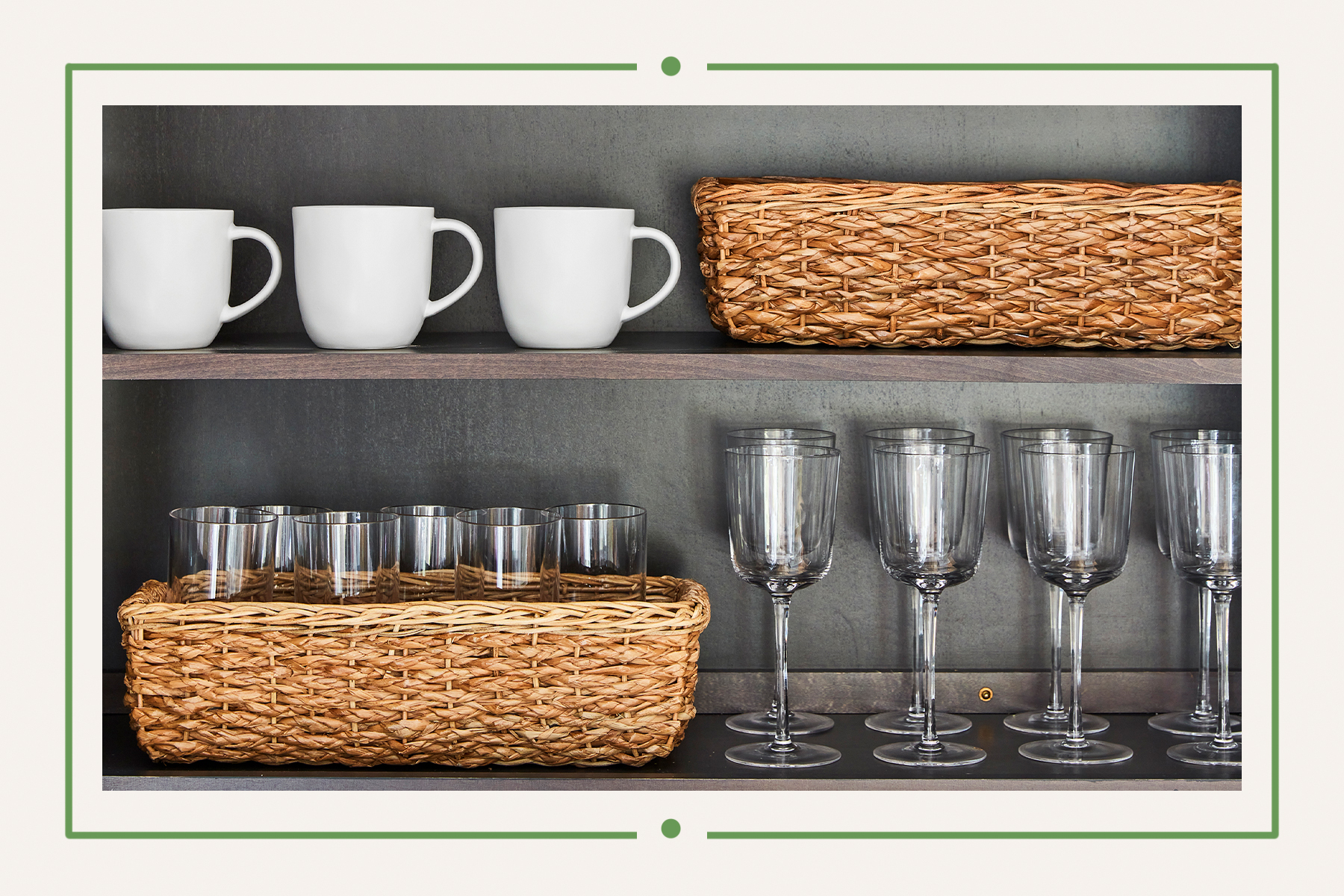 Organized cabinet with glasses and woven baskets