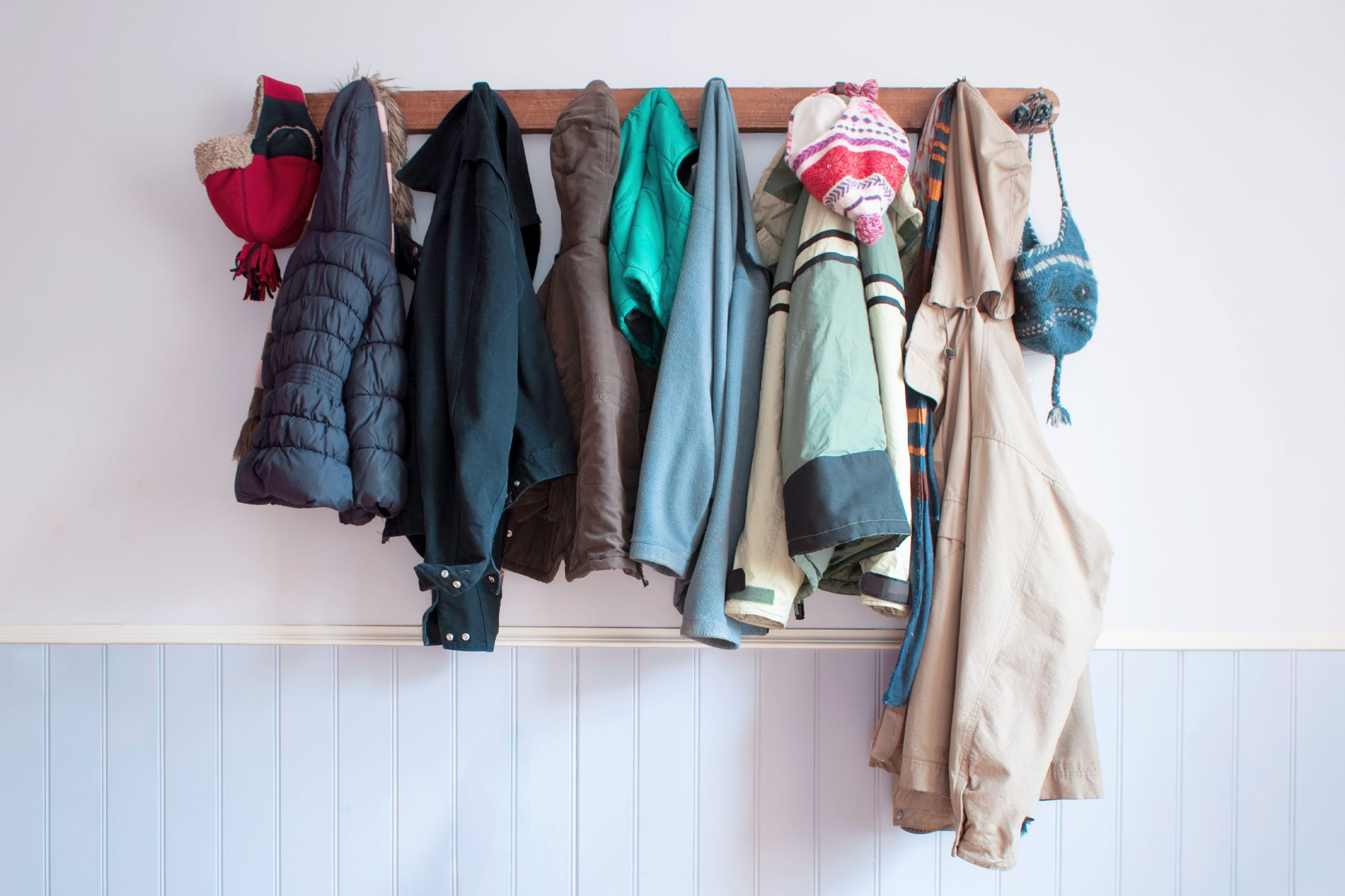 fall and winter jackets on a hook