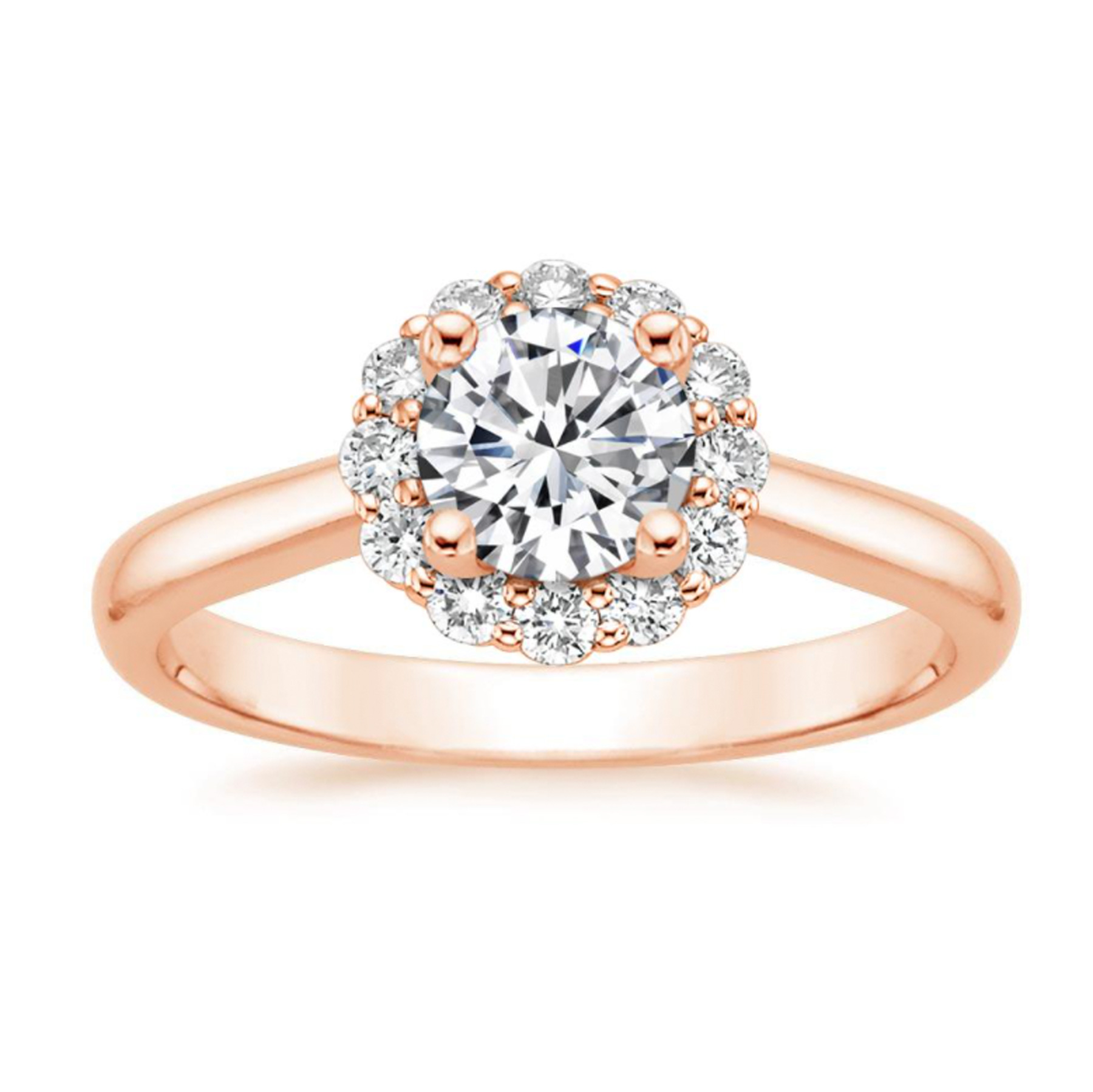 Brilliant Earth rose gold halo engagement ring