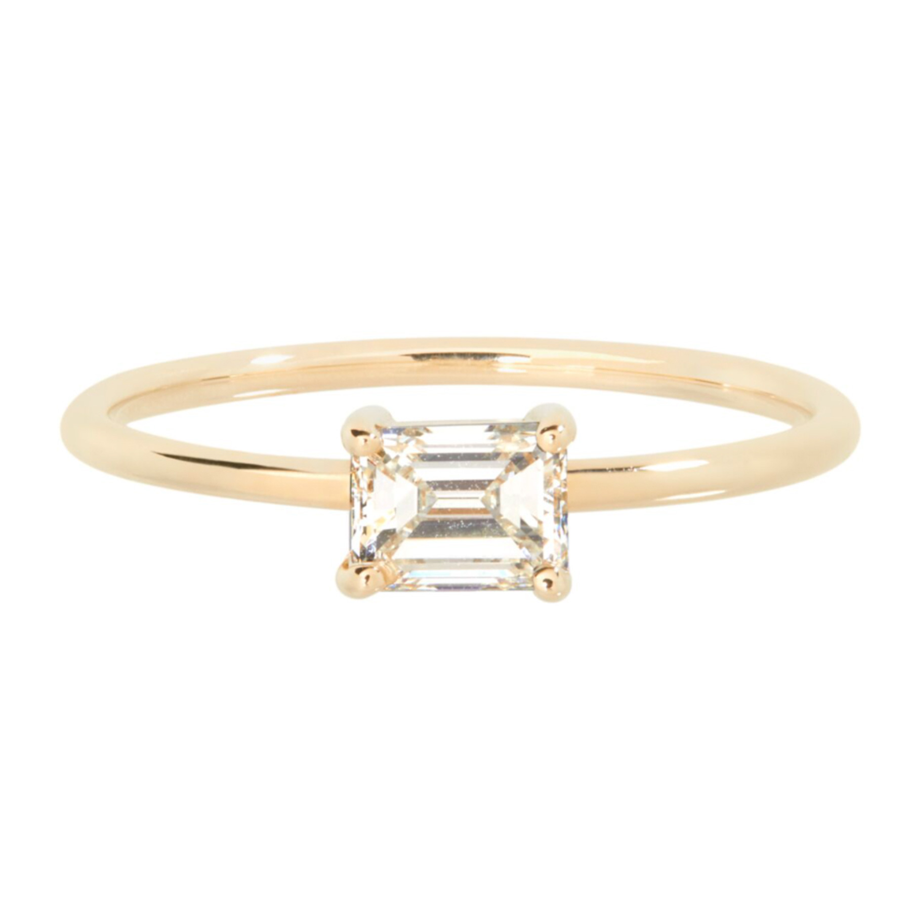 Catbird NYC simple solitaire emerald cut diamond engagement ring