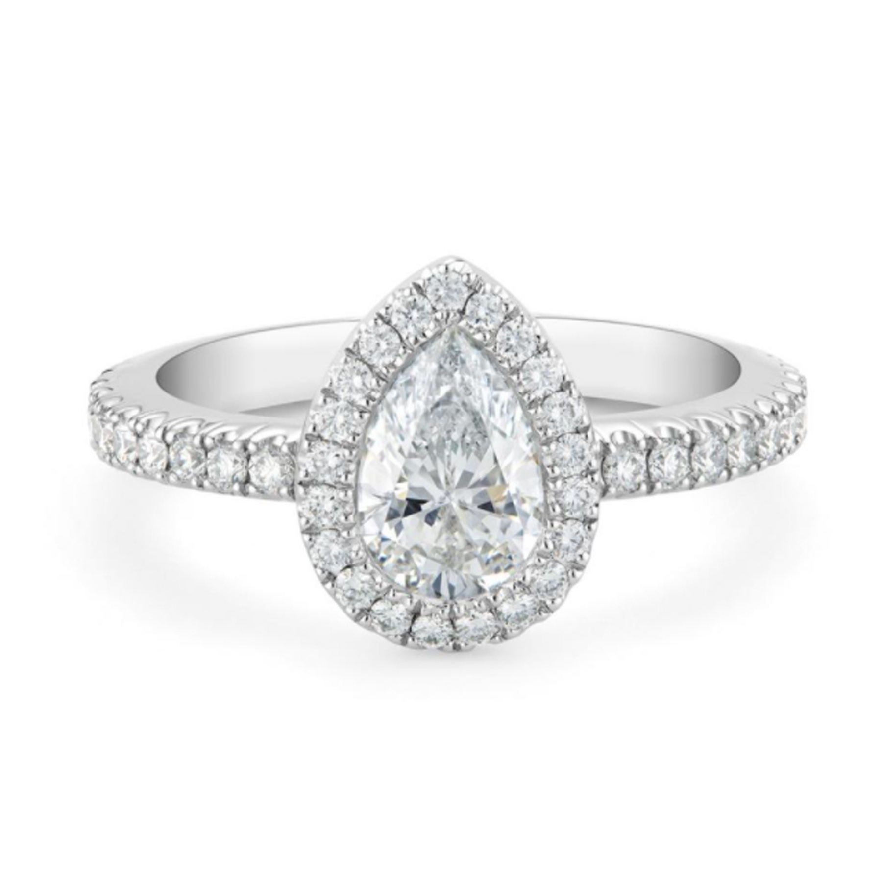 De Beers diamond pear engagement ring with halo