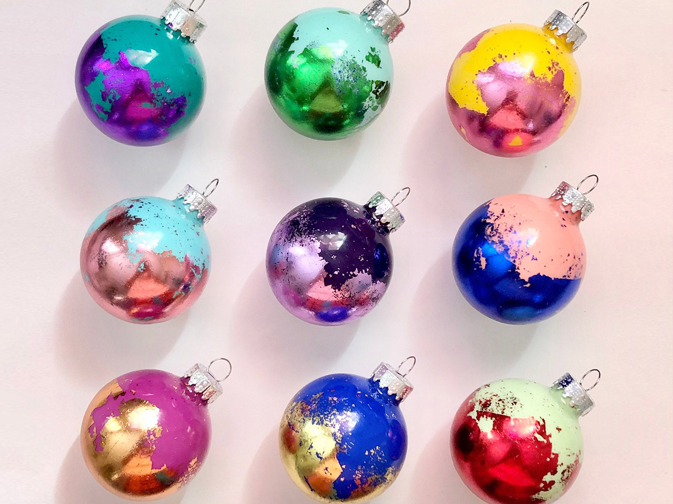 ombre sparkly ornaments