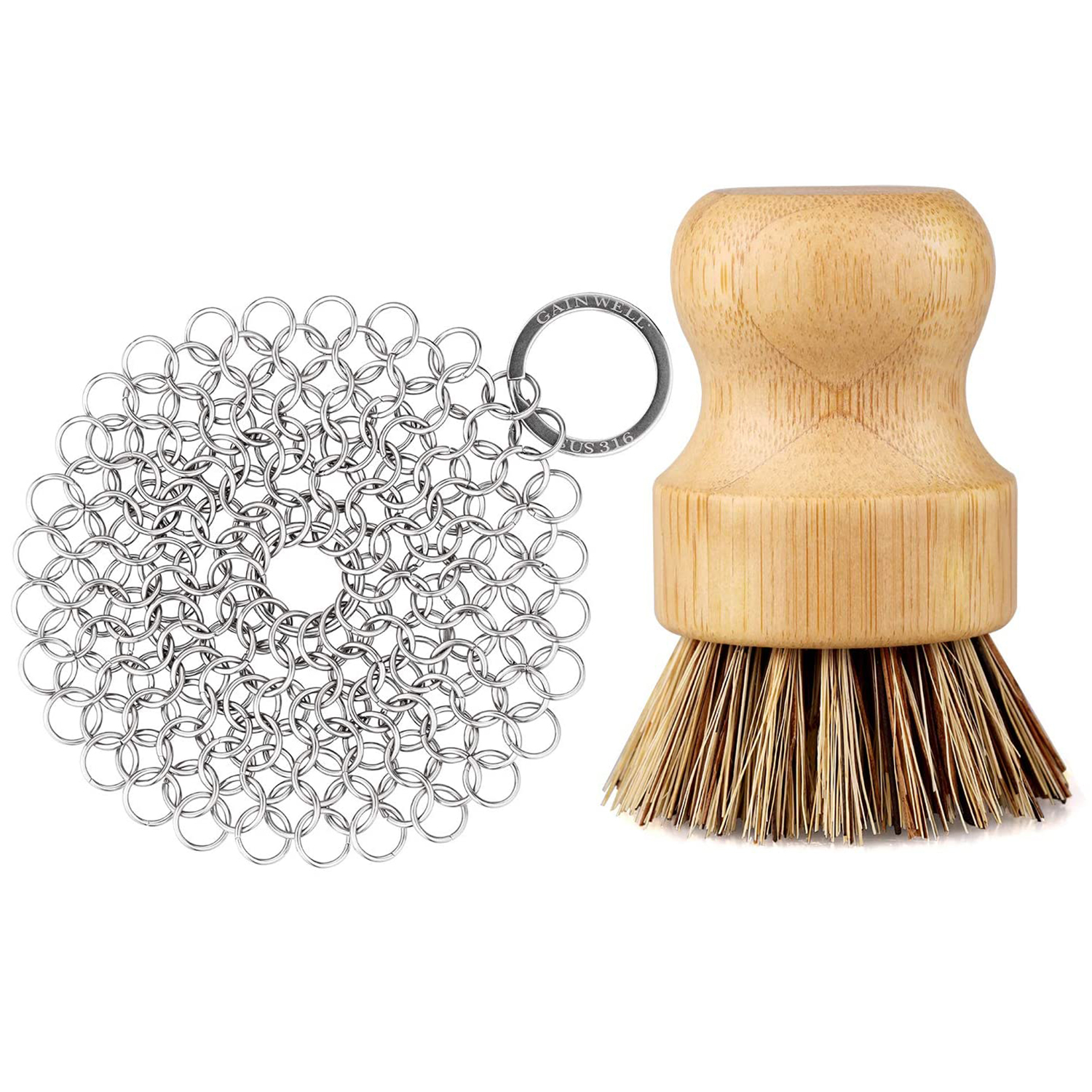 GAINWELL Stainless Steel Chainmail Scrubber Set Cast Iron Cleaner