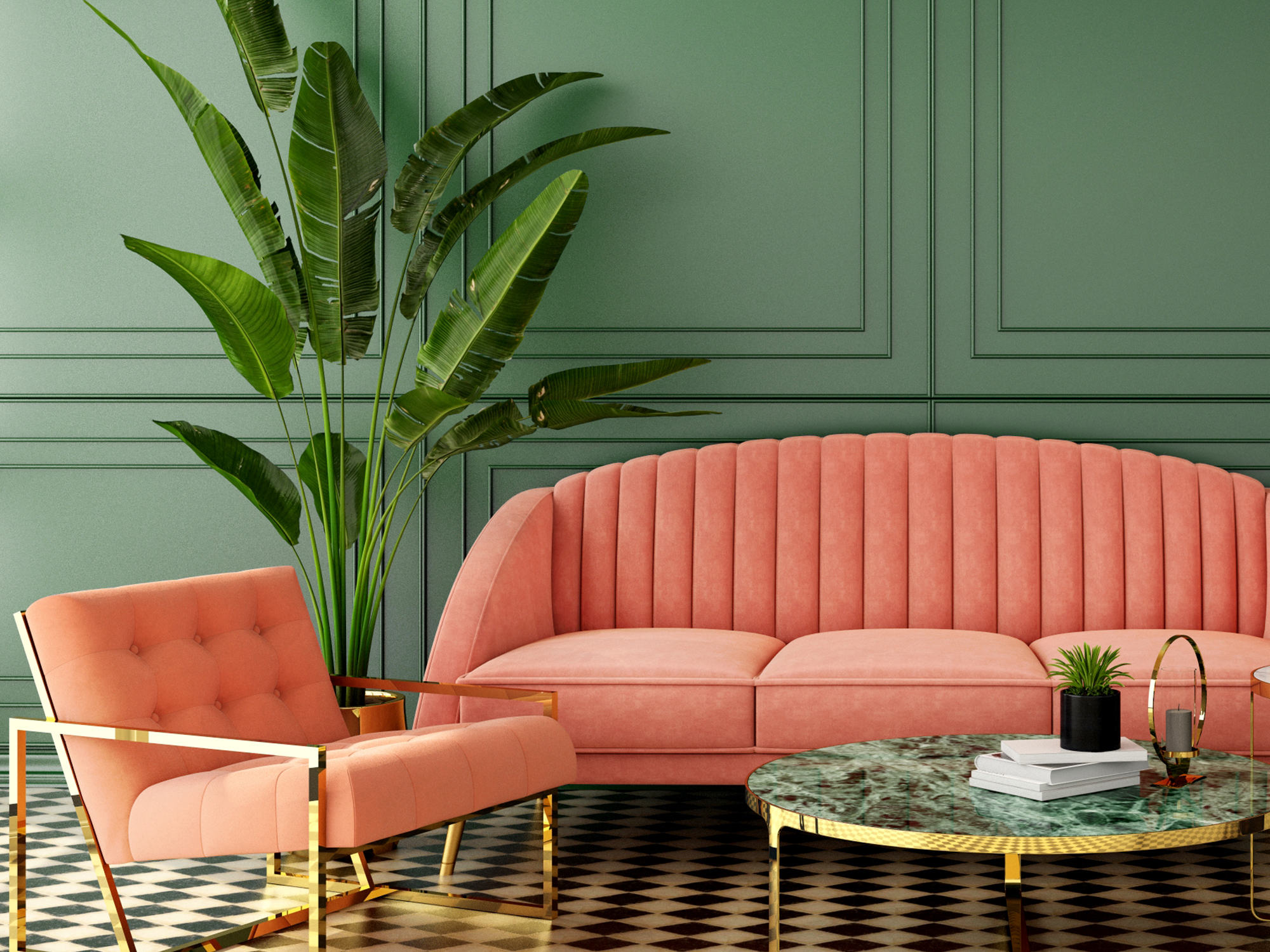 sage painted wall and a coral couch